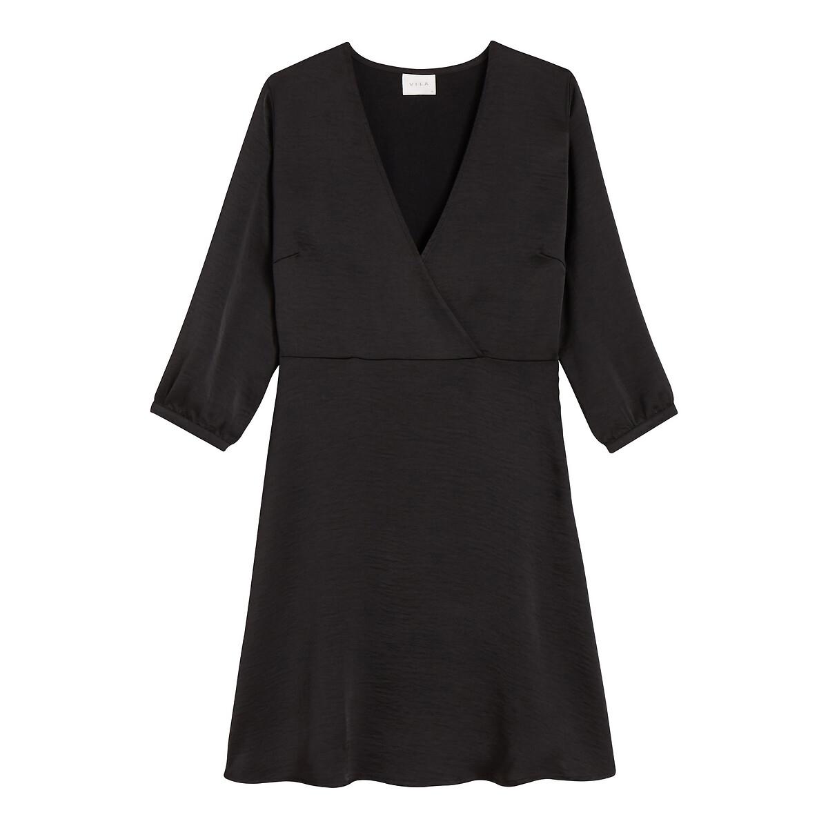 Платье La Redoute Расклешенное с эффектом запаха с рукавами 40 (FR) - 46 (RUS) черный
