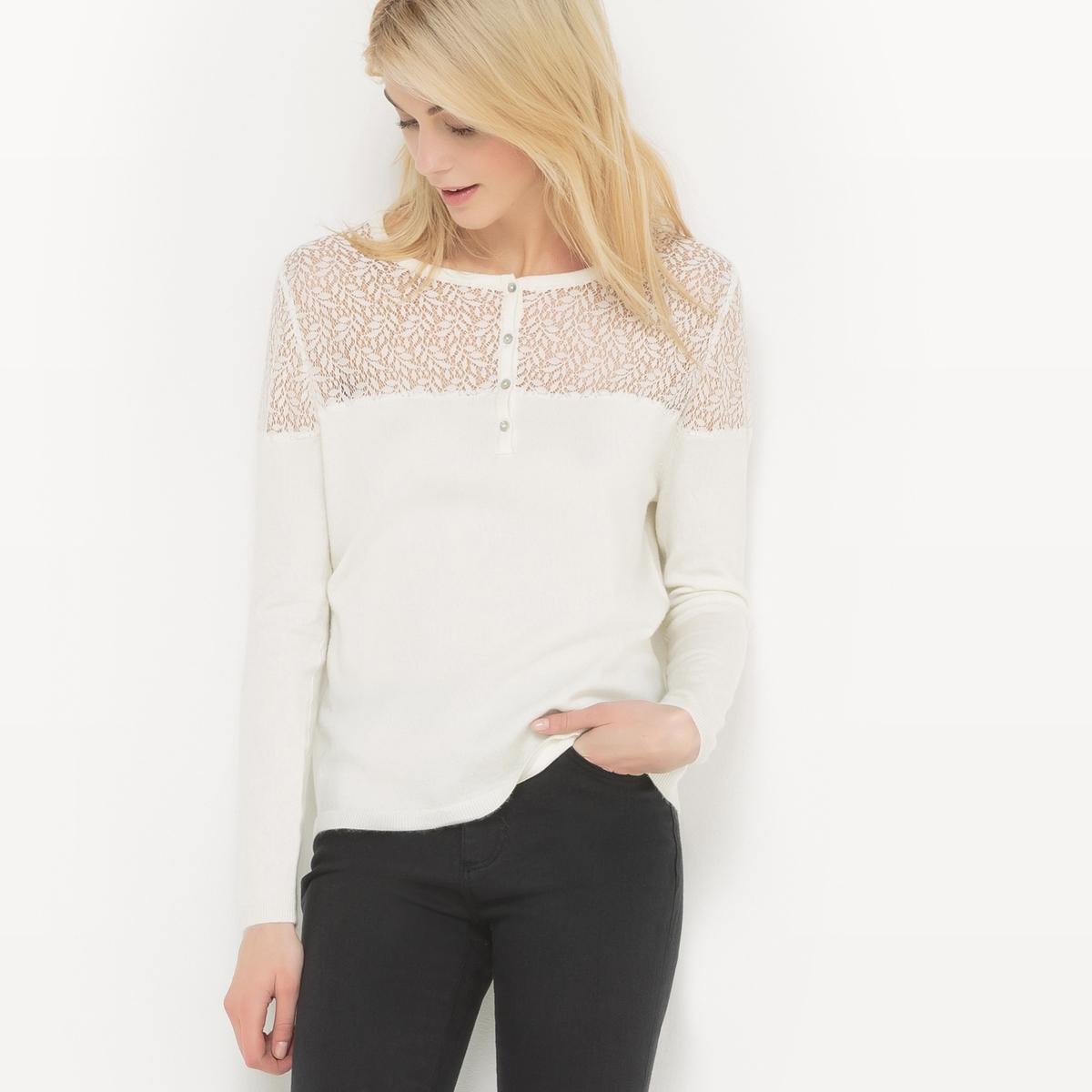 Пуловер с круглым вырезом и вставкой из кружева