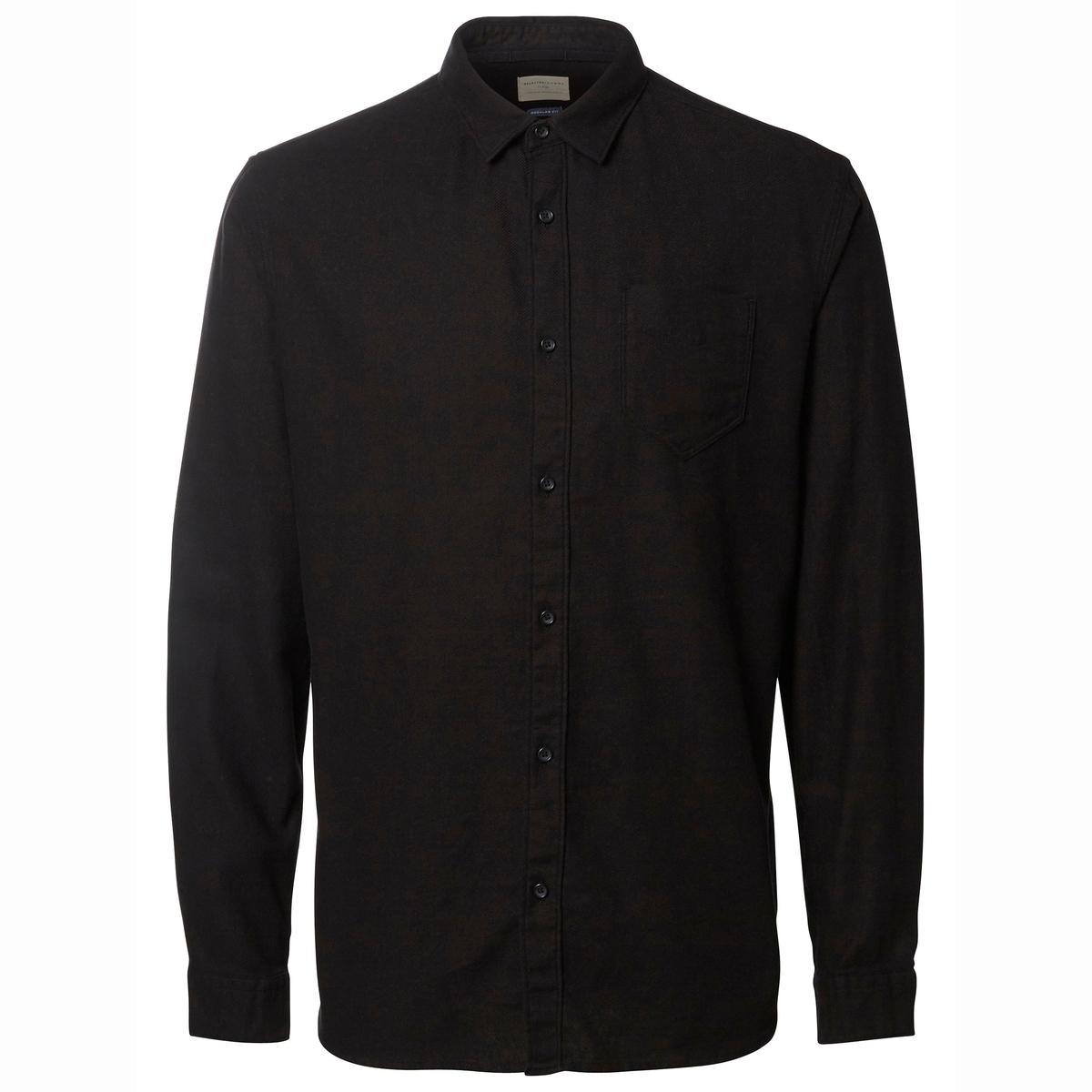 Рубашка  с длинными рукавами WokenОднотонная рубашка  с длинными рукавами WOKEN -  SELECTED HOMME. Прямой покрой и классический воротник. 1 нагрудный карман. Низ слегка закругленный, манжеты  на пуговицах.  Состав и описание:Материал: 100% хлопка.Марка: SELECTED HOMME.<br><br>Цвет: черный<br>Размер: M