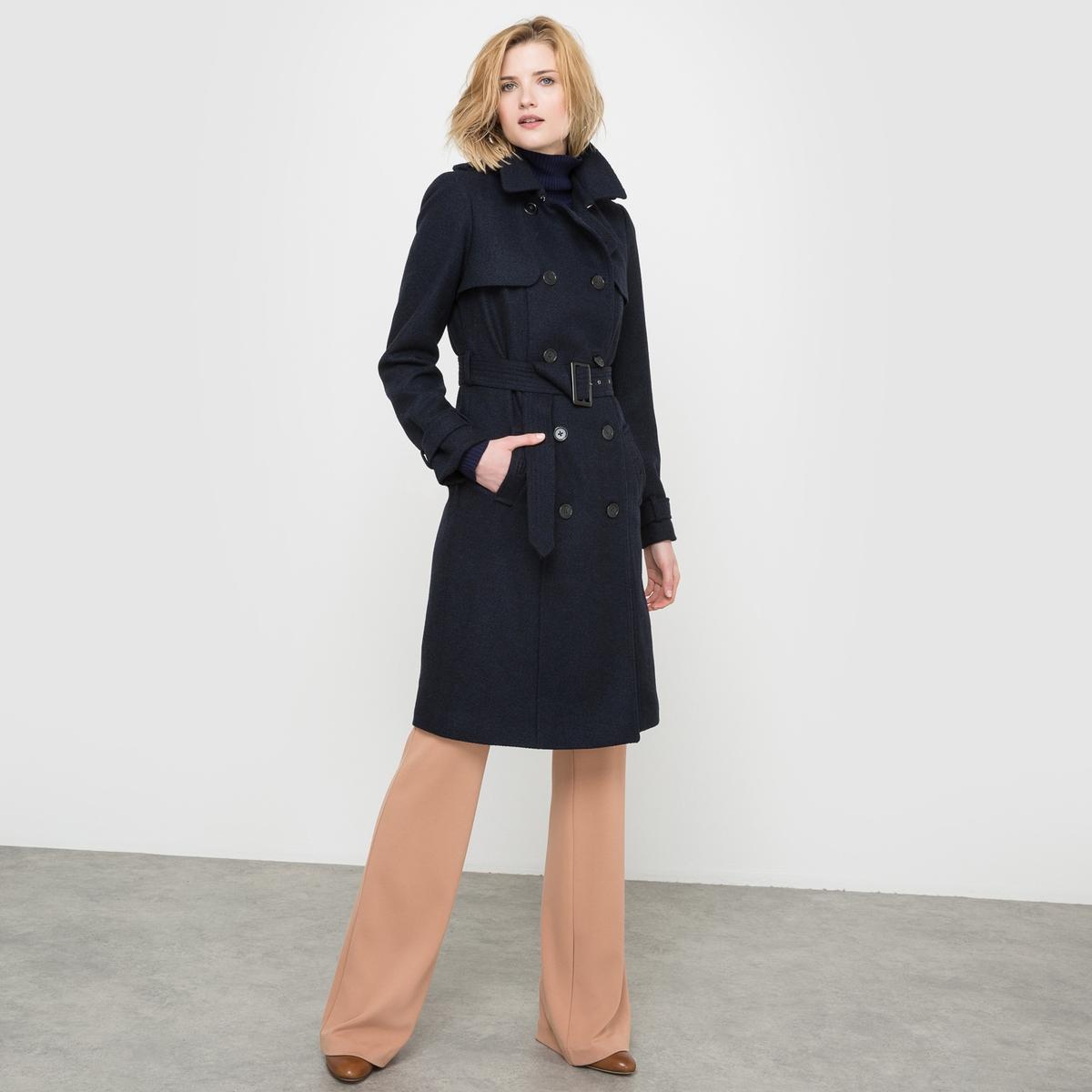 Тренчкот из шерстяного драпа пальто зимнее из шерстяного драпа