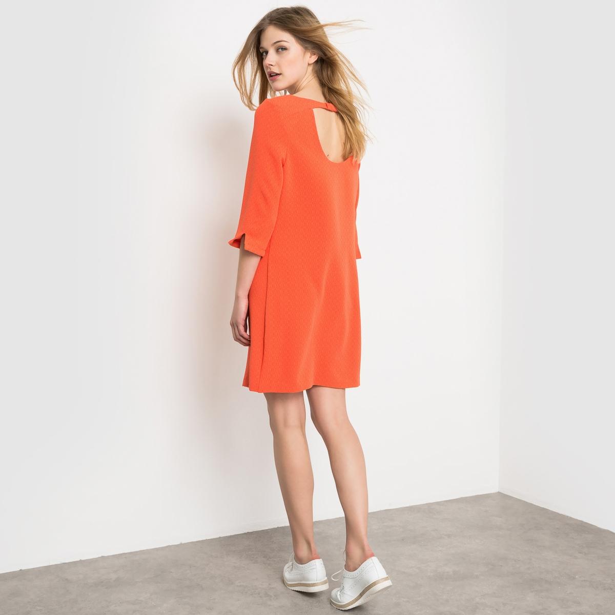 ПлатьеПлатье с рукавами 3/4. Прямой покрой, закругленный вырез. Сверкающие цвета оранжевых оттенков. Состав и описаниеМатериал : 78% полиэстера, 19% вискозы, 3% эластанаДлина :  90 смМарка : LES PETITS PRIX.<br><br>Цвет: оранжевый<br>Размер: 44 (FR) - 50 (RUS)