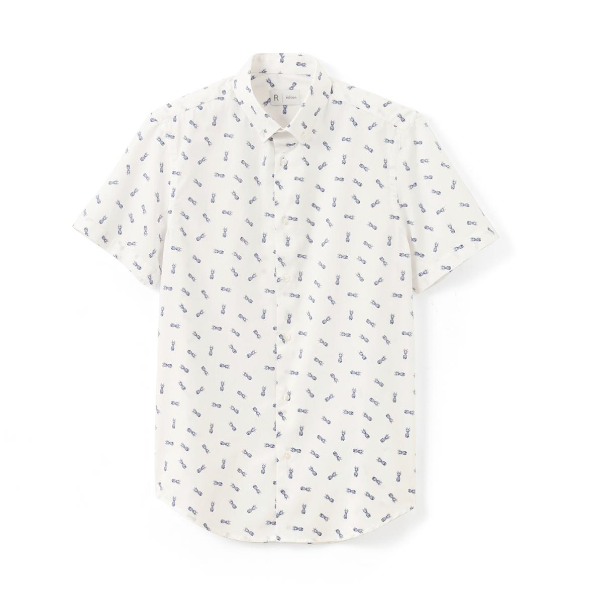 Рубашка прямого покроя с принтом ананас