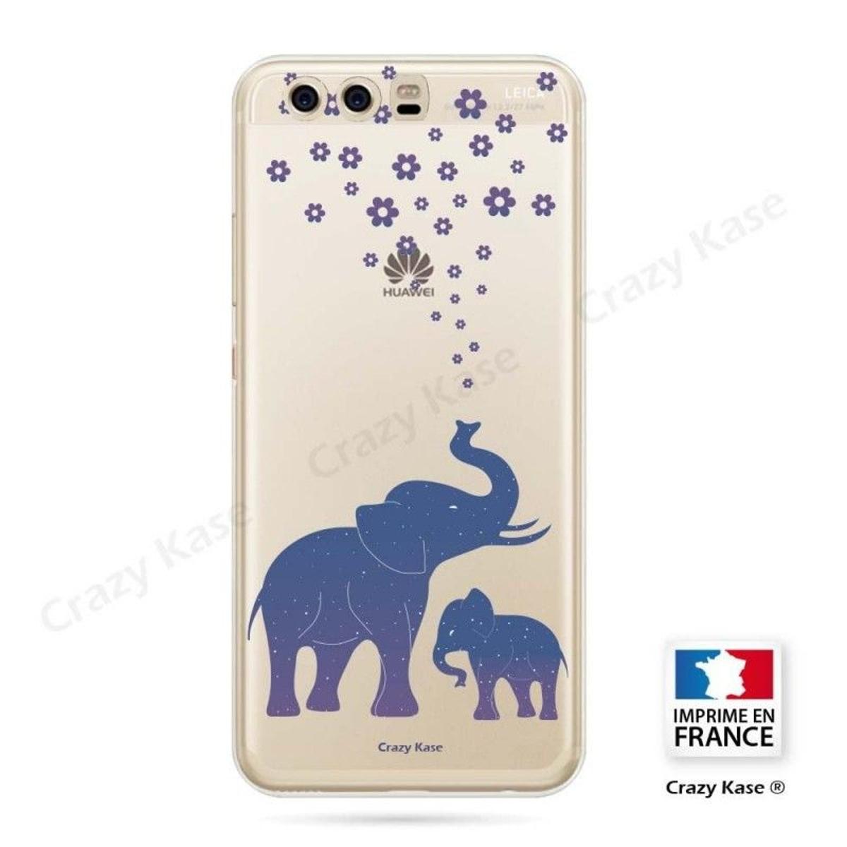 Coque Huawei P10 Plus souple motif Eléphant Bleu - Crazy Kase