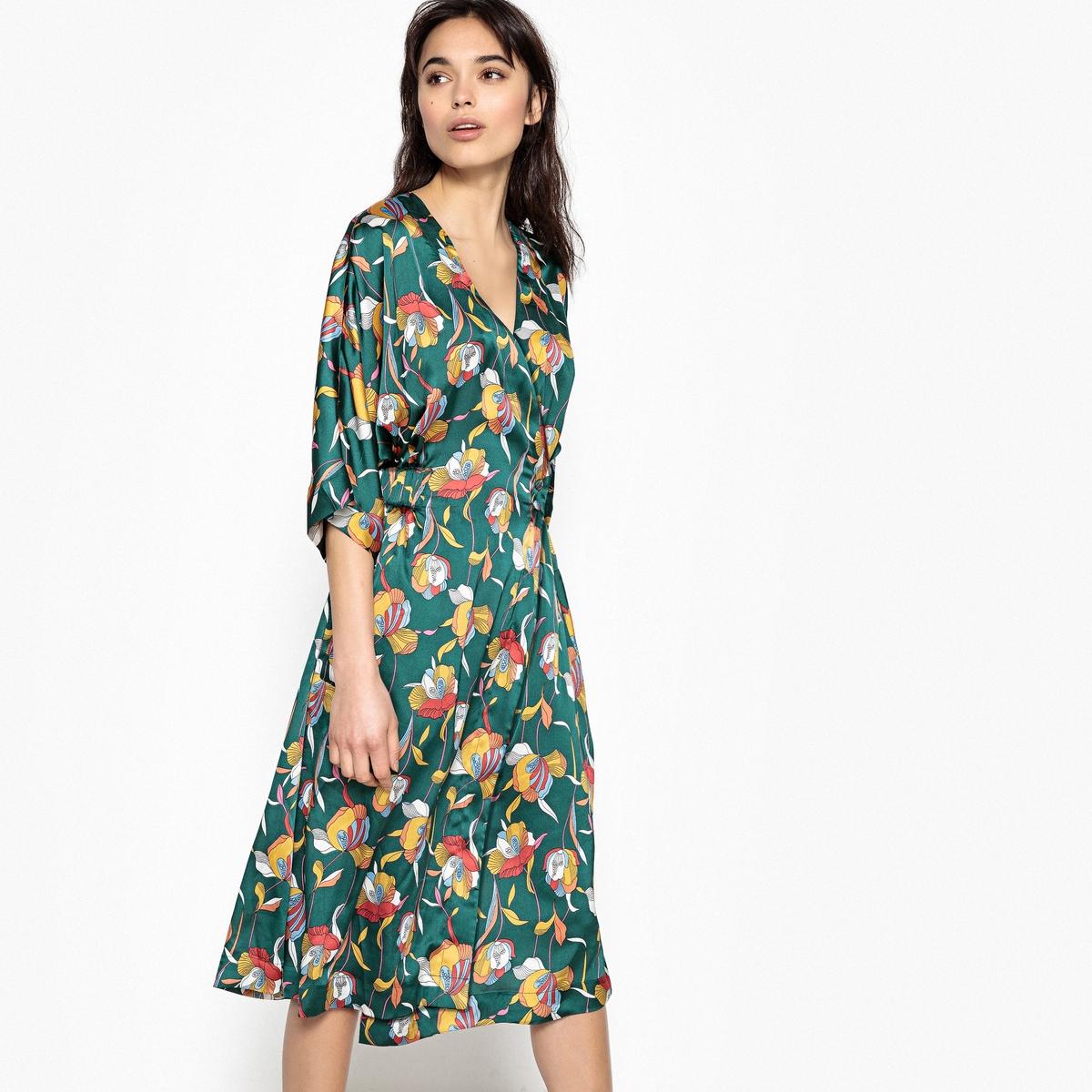Платье атласное с запахом с карманами спереди атласное платье с поясом
