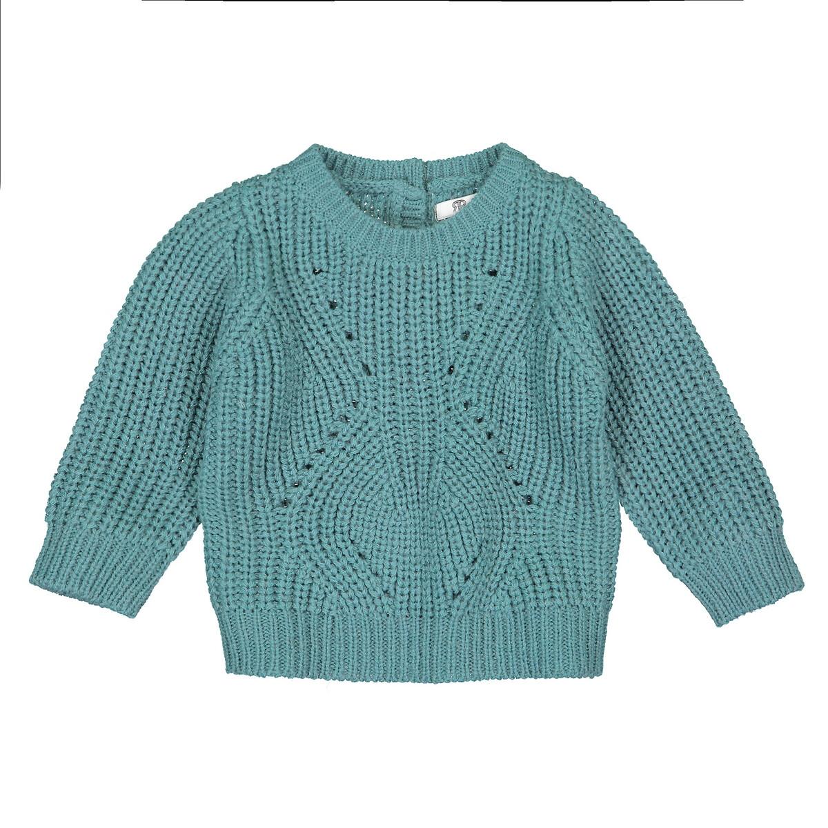 Пуловер La Redoute С круглым вырезом из трикотажа 3 мес-4 года 2 - 86 см зеленый