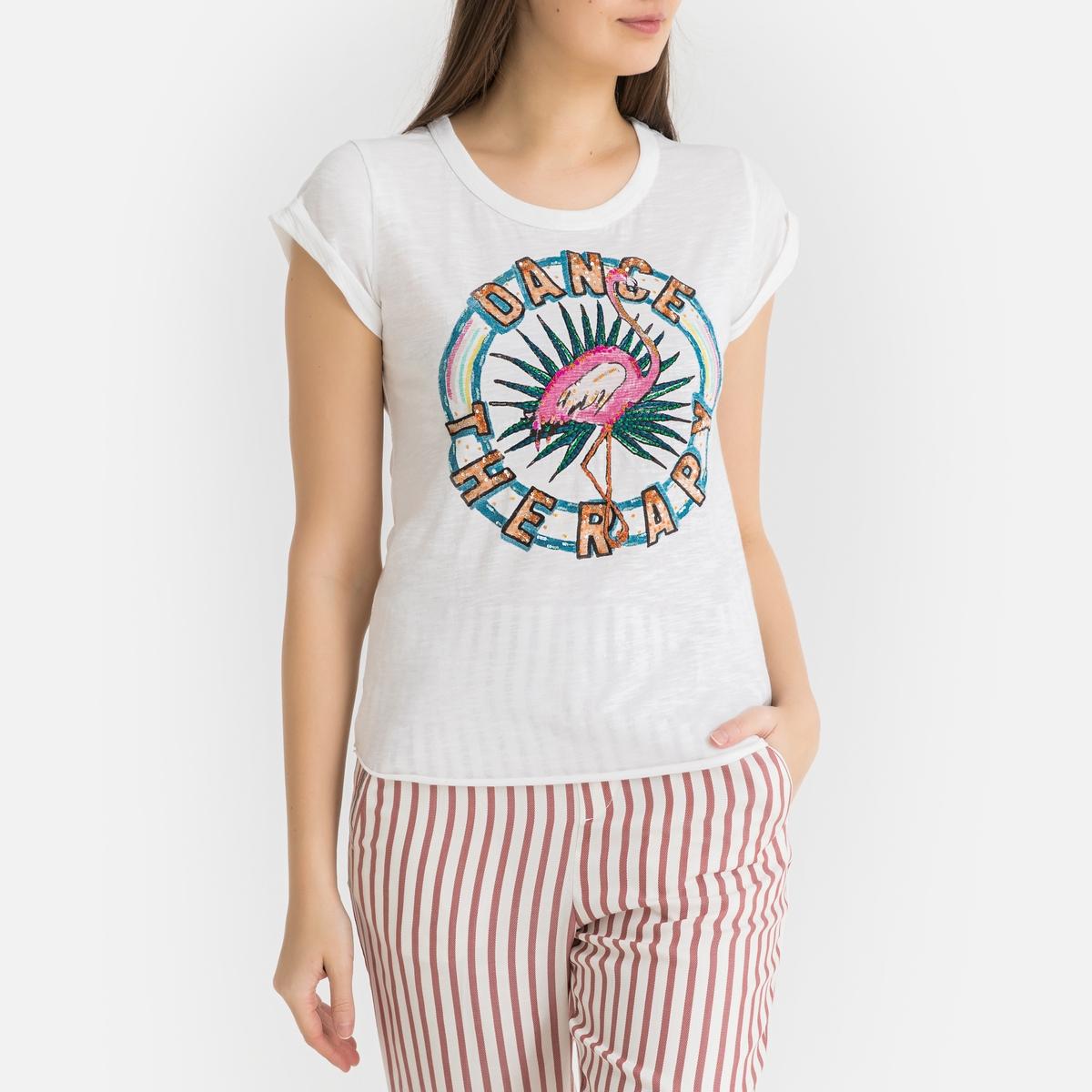 Футболка La Redoute С круглым вырезом и рисунком TOVA S белый футболка la redoute с круглым вырезом и рисунком tova m белый