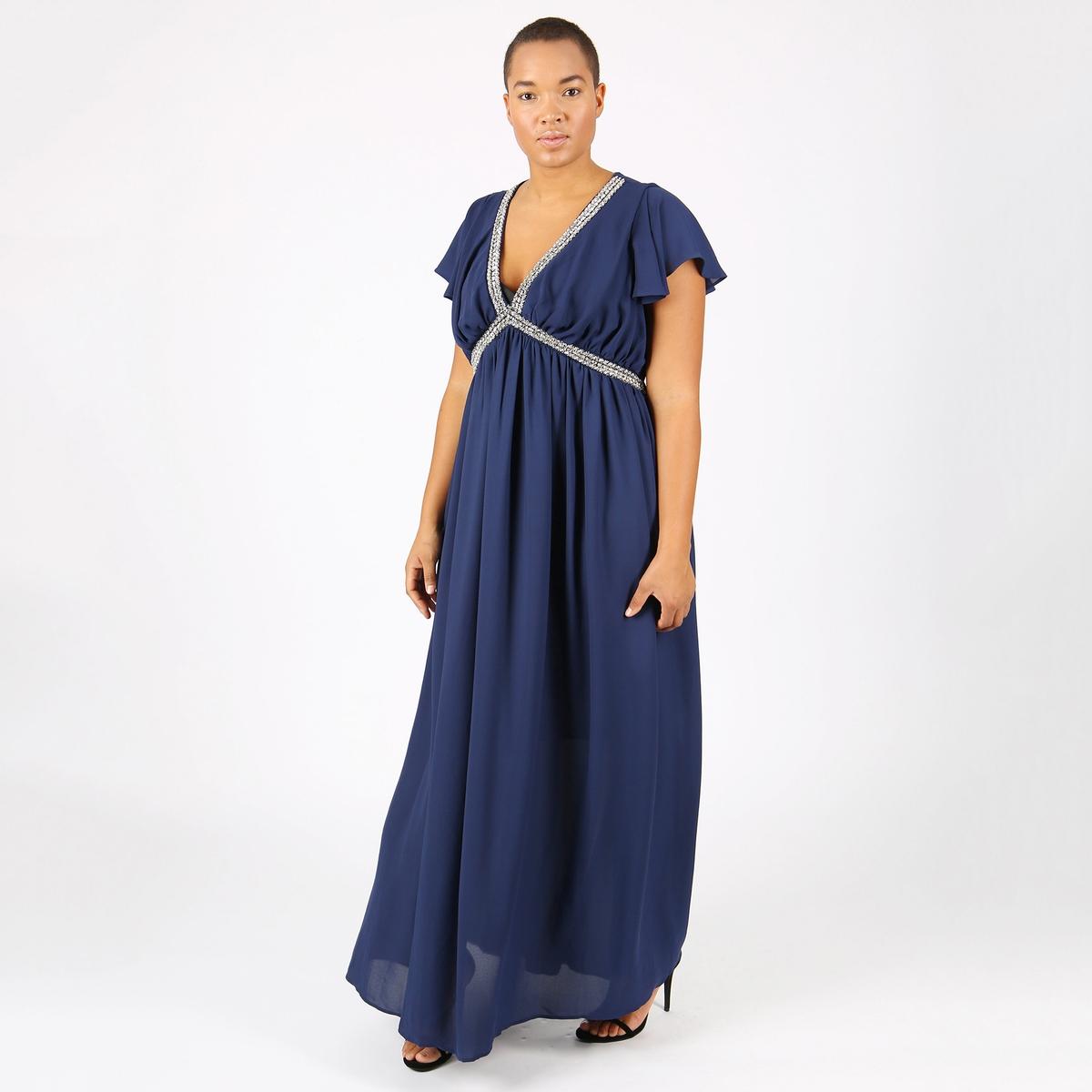 Платье длинное плиссированное однотонное с короткими рукавами