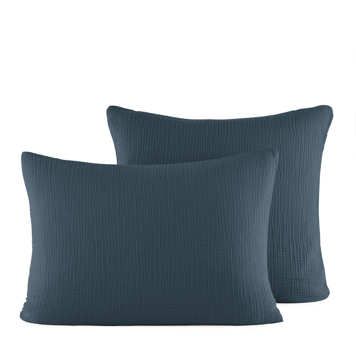 Наволочка LaRedoute Из хлопчатобумажной газовой ткани Yafa 65 x 65 см синий