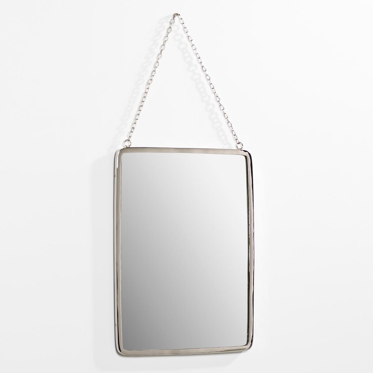 Зеркало прямоугольное. большой размер Д37 x В52 см, BarbierЗеркало в старинном стиле. Характеристики: :- Рамка из никелированной латуни  . - Цепочка-подвеска из металла с никелевым покрытием  . Размеры  : - Шир.37 x В.52 см.<br><br>Цвет: безцветный