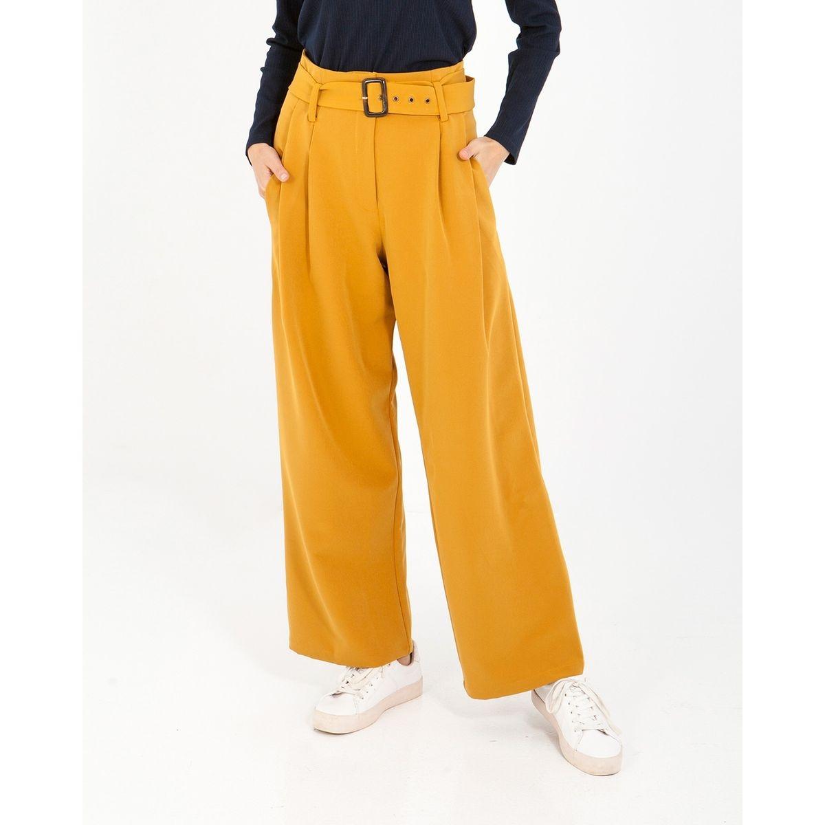 Pantalon avec coupe palazzo et ceinture