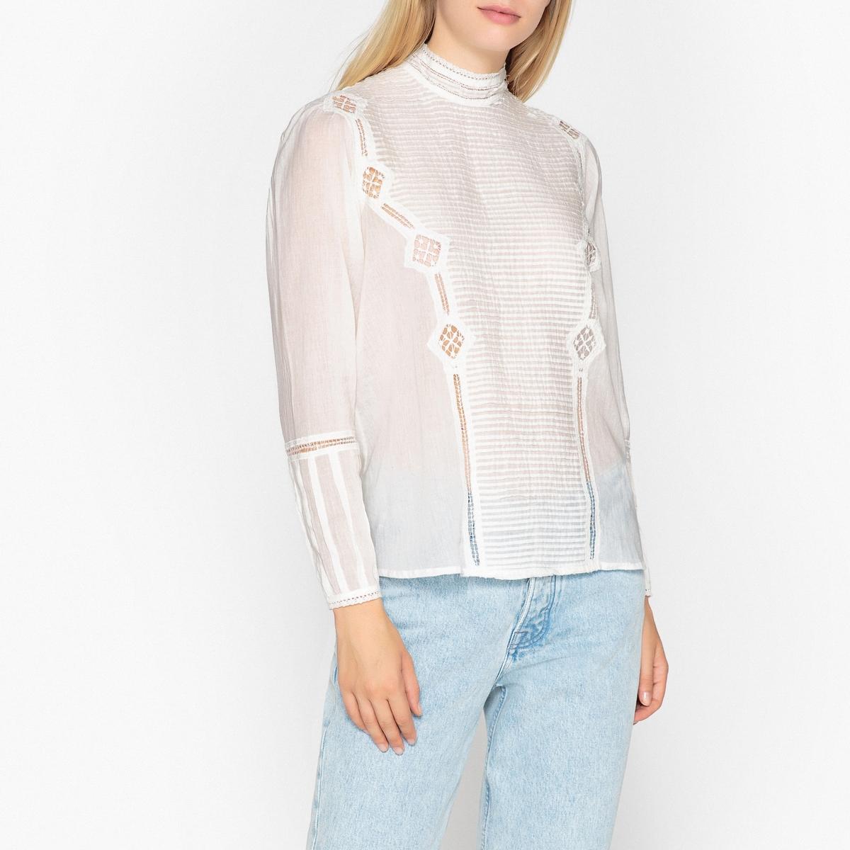 Блузка с воротником-стойкой и длинными рукавами LUCY