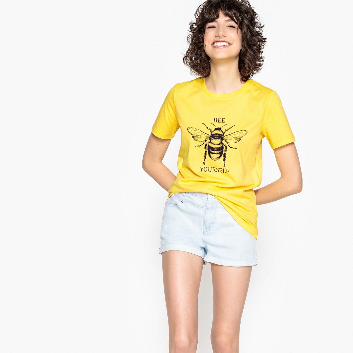 Футболка с круглым вырезом, короткими рукавами и рисунком пчела футболка с круглым вырезом рисунком и короткими рукавами