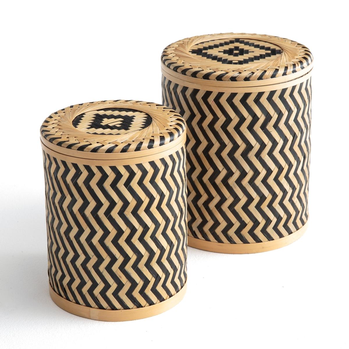 2 коробки из плтеного бамбука BACHAОписание:2 коробки для хранения вещей, из бамбука, с оригинальным зигзагообразным рисунком, со съемной и невероятно практичной крышкой .Описание коробки Bacha :2 коробки из плетеного бамбука, с зигзагообразным рисунком .Съемная крышка. Округлая форма Откройте для себя всю коллекцию декора на сайте laredoute.ru Размеры коробок Bacha :Размеры (1) 13 x 13 x H 16 см Размеры (2)  11 x 11 x H14 см Продаются в комплекте из 2 штук разного размера<br><br>Цвет: экрю/ черный