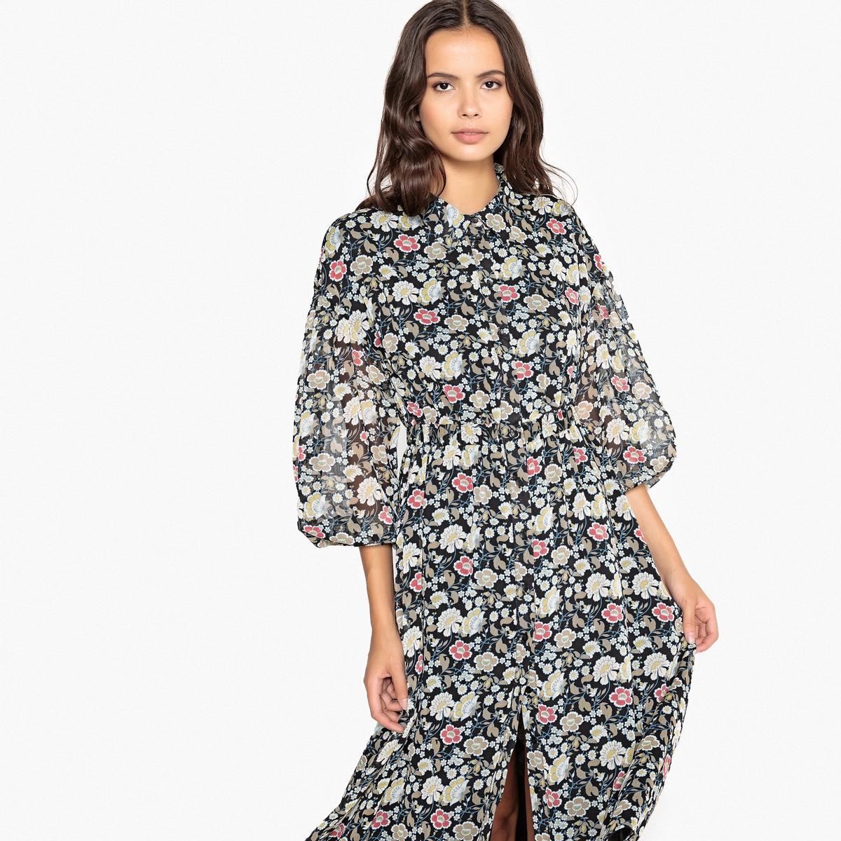 Платье La Redoute Миди приталенное с цветочным принтом с рубашечным воротником 34 (FR) - 40 (RUS) черный шорты la redoute плавательные с принтом джунгли мес года 18 мес 81 см синий