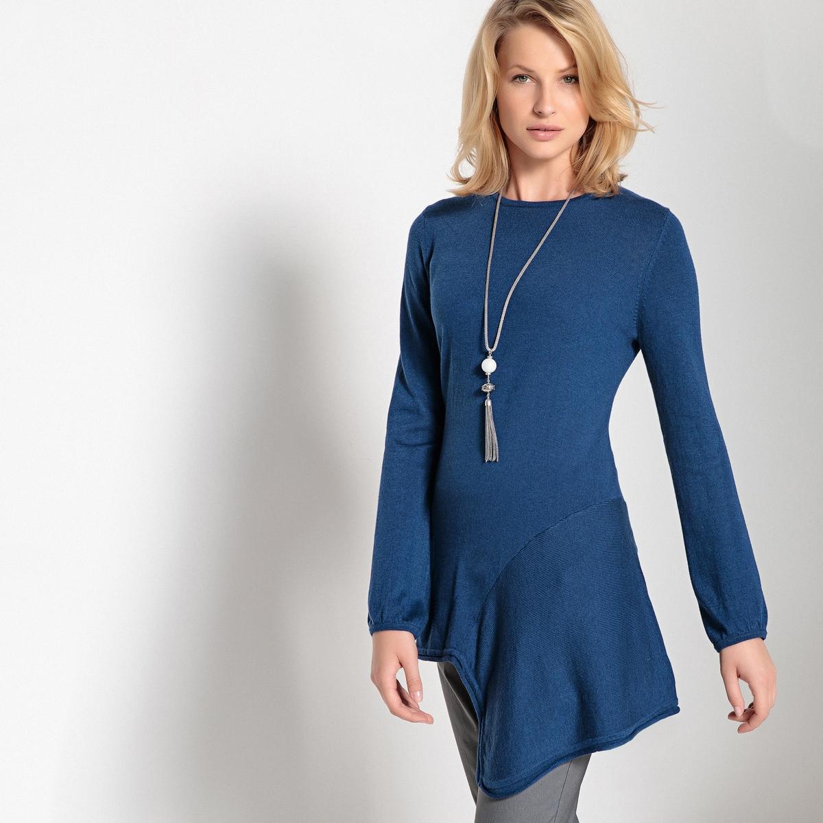 Imagen principal de producto de Jersey túnica en asimetría, cno cuello redondo y punto fino - Anne weyburn