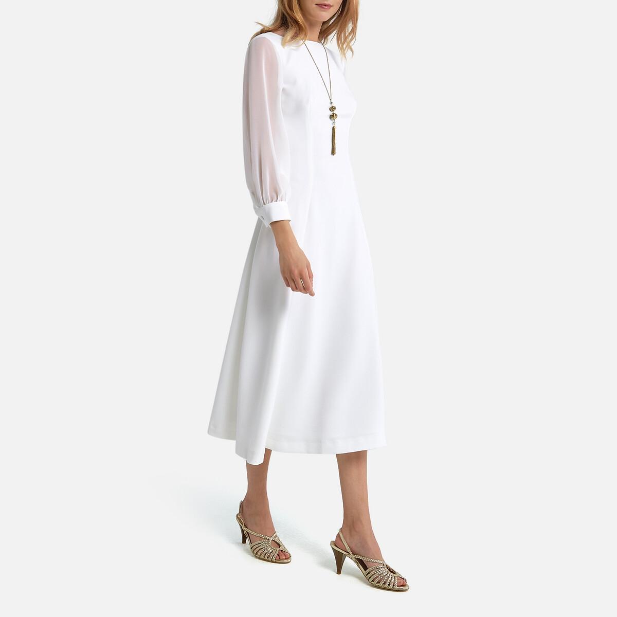 Платье La Redoute Невесты длинное V-образное декольте 34 (FR) - 40 (RUS) белый