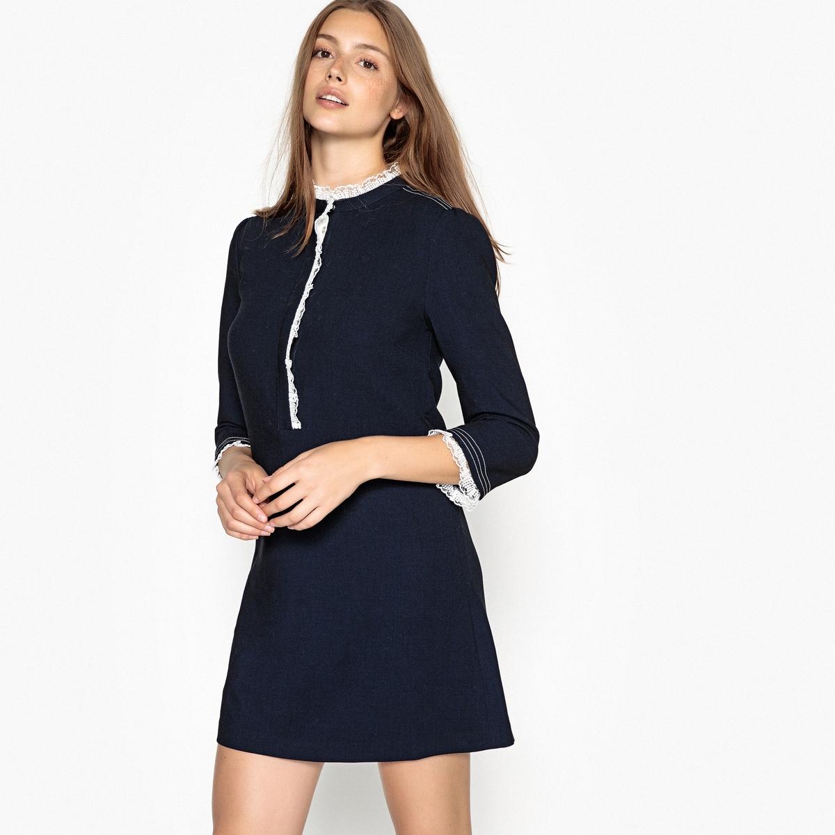 Платье прямое, с длинными рукавами и круглым вырезом, CELIE платье расклешенное с длинными рукавами и круглым вырезом