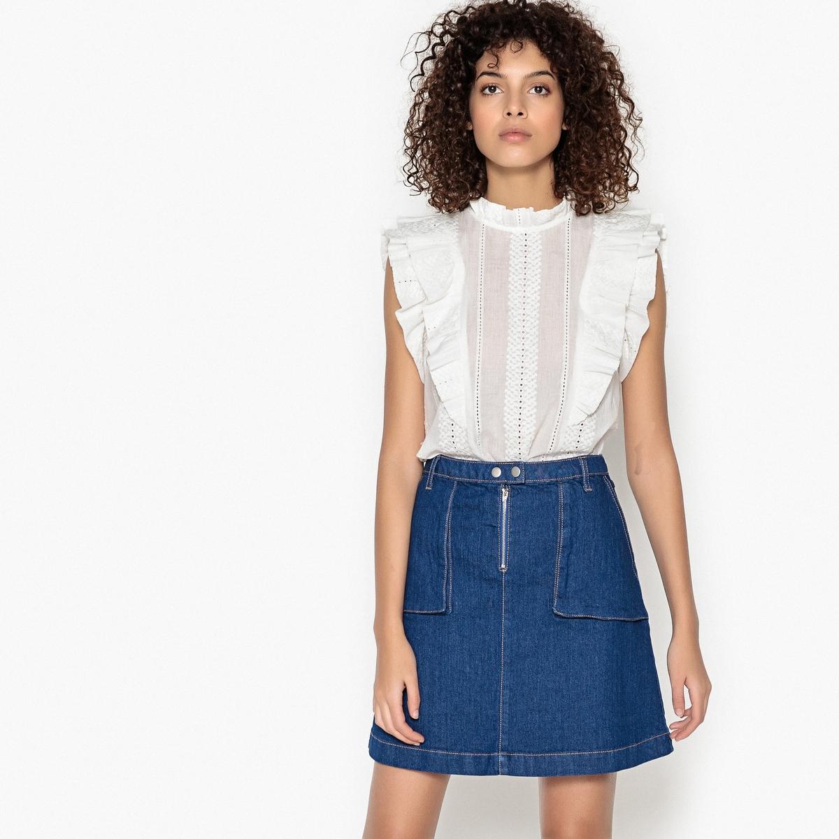 Блузка однотонная с круглым вырезом, без рукавов блузка однотонная с круглым вырезом без рукавов