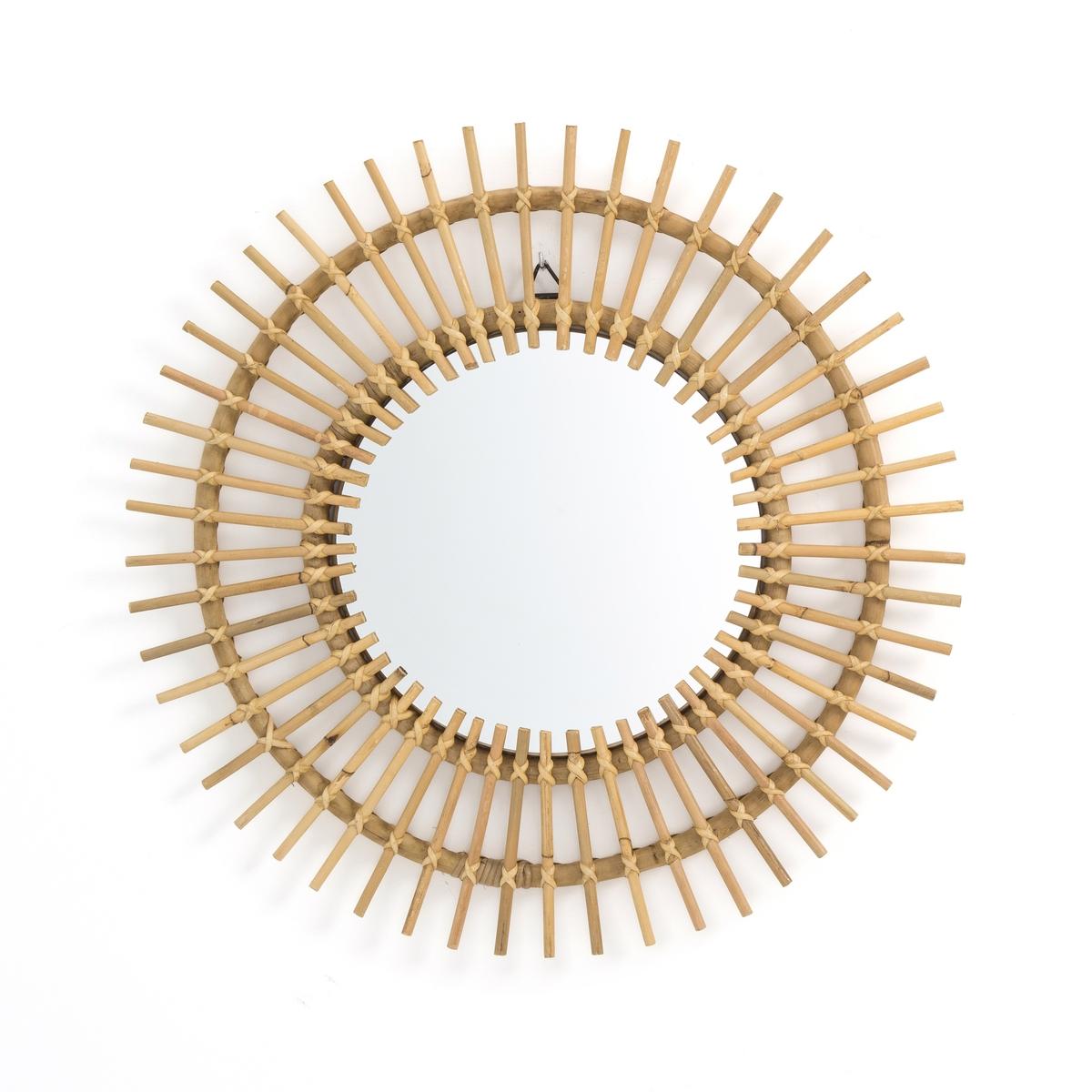 Зеркало La Redoute Из ротанга в форме солнца см Nogu единый размер бежевый зеркало la redoute квадратное из ротанга ш x в см tarsile единый размер бежевый