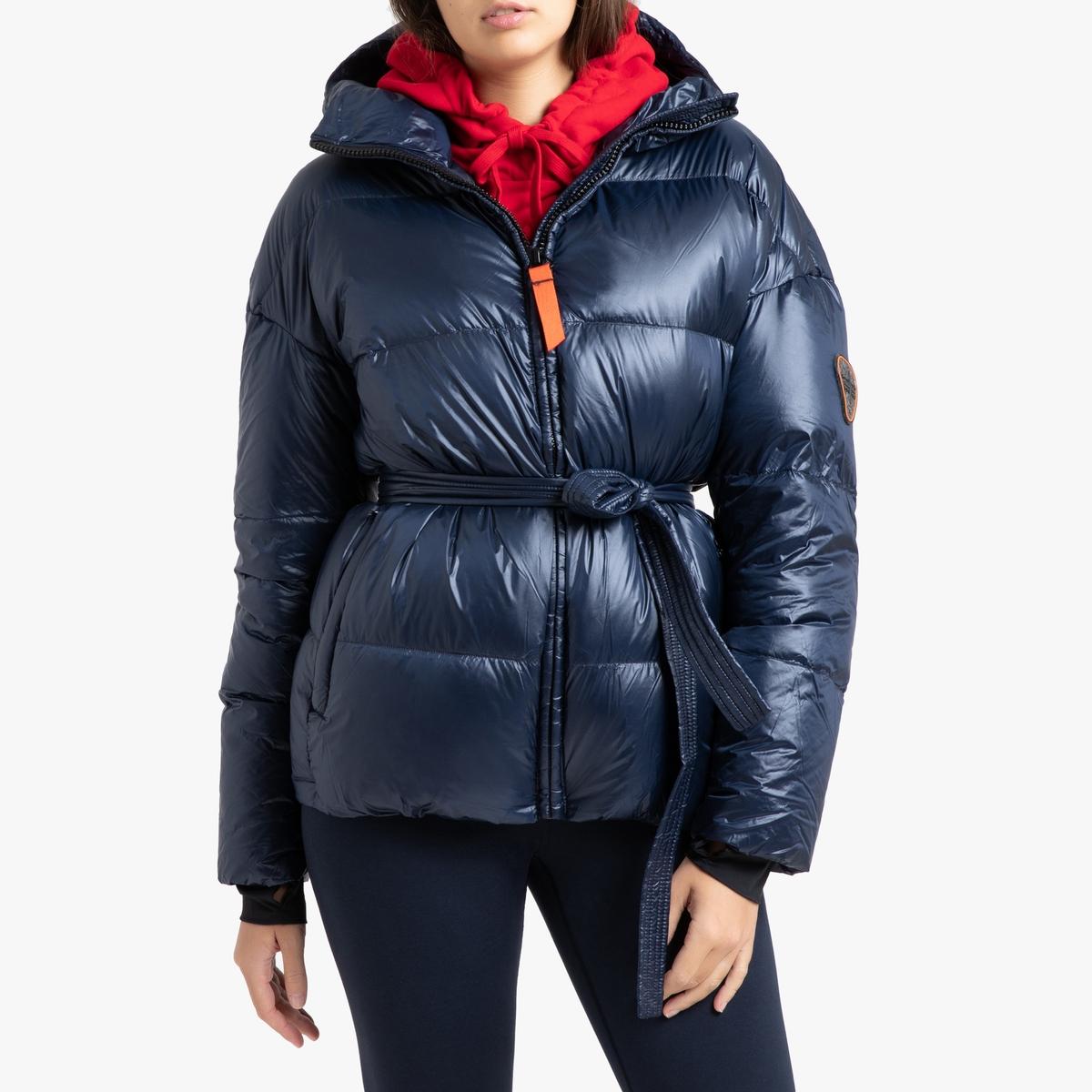 цена Куртка La Redoute Стеганая короткая с капюшоном MIKA GLOSSY L синий онлайн в 2017 году
