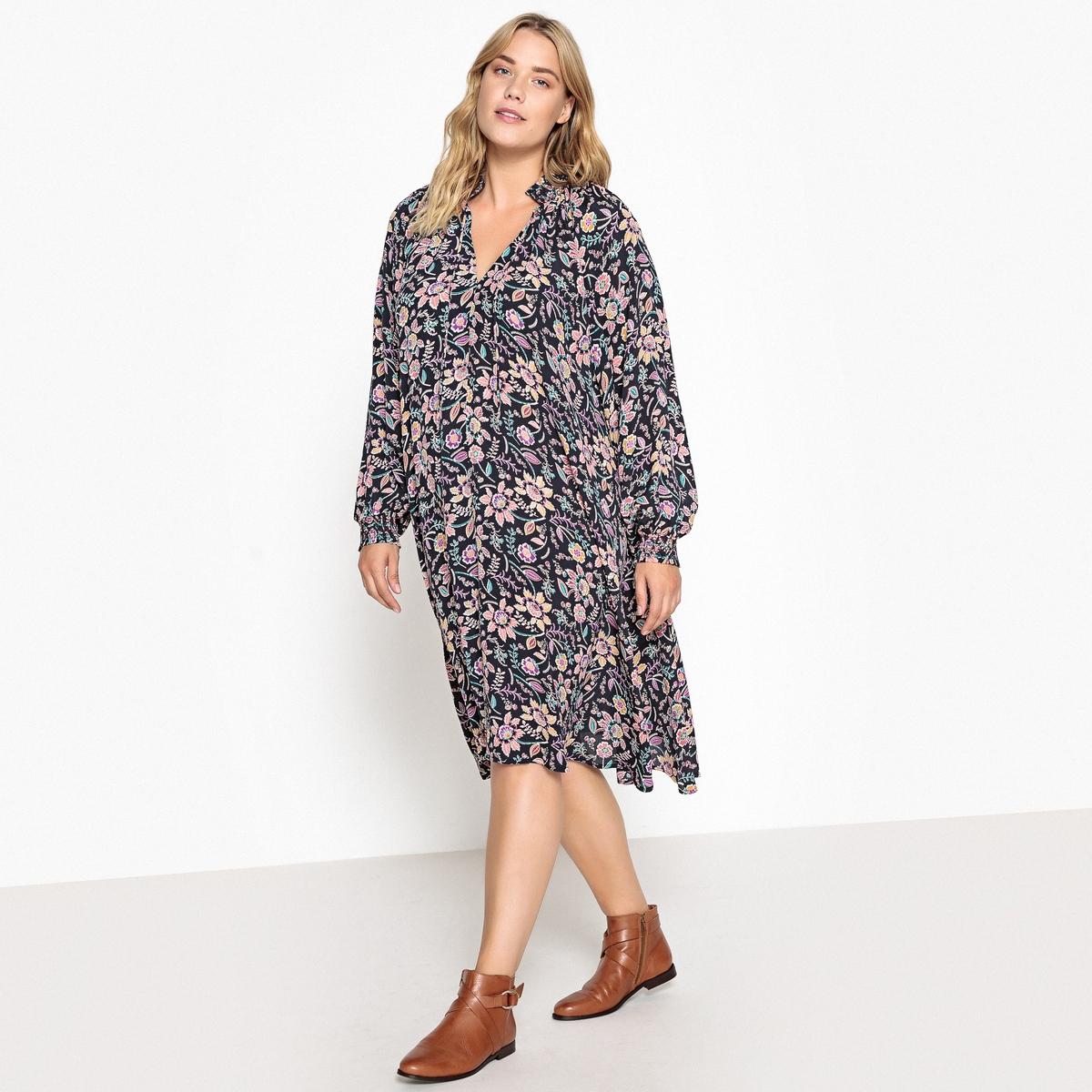 Платье расклешенное с цветочным рисунком и длинными рукавами платье с запахом длинными рукавами и цветочным рисунком