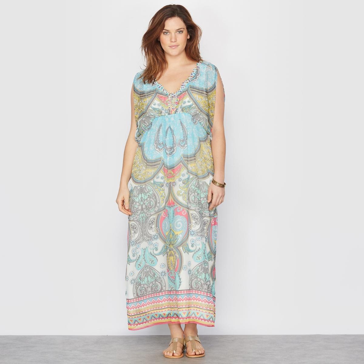 Платье длинное с рисункомПлатье. Длинное платье с драпировкой из вуали и рисунком на кашемире в изысканном и богемном стиле   . Глубокий V-образный вырез с декором . Рукава по локоть с разрезами на плече .  Эластичный пояс. 100% полиэстера. Длина 140 см.<br><br>Цвет: рисунок пейсли<br>Размер: 44 (FR) - 50 (RUS)