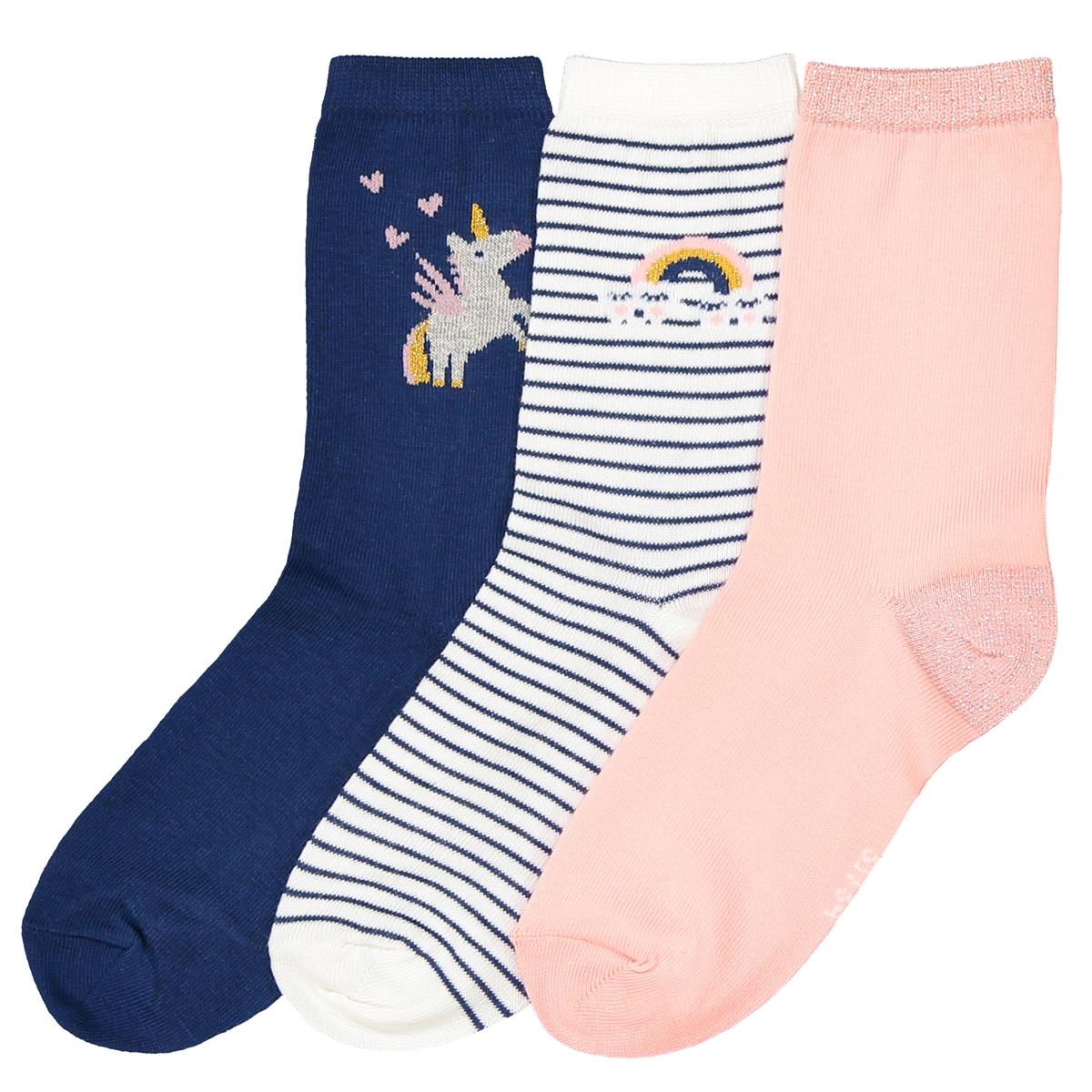 3 пары носков с блестящими вставками