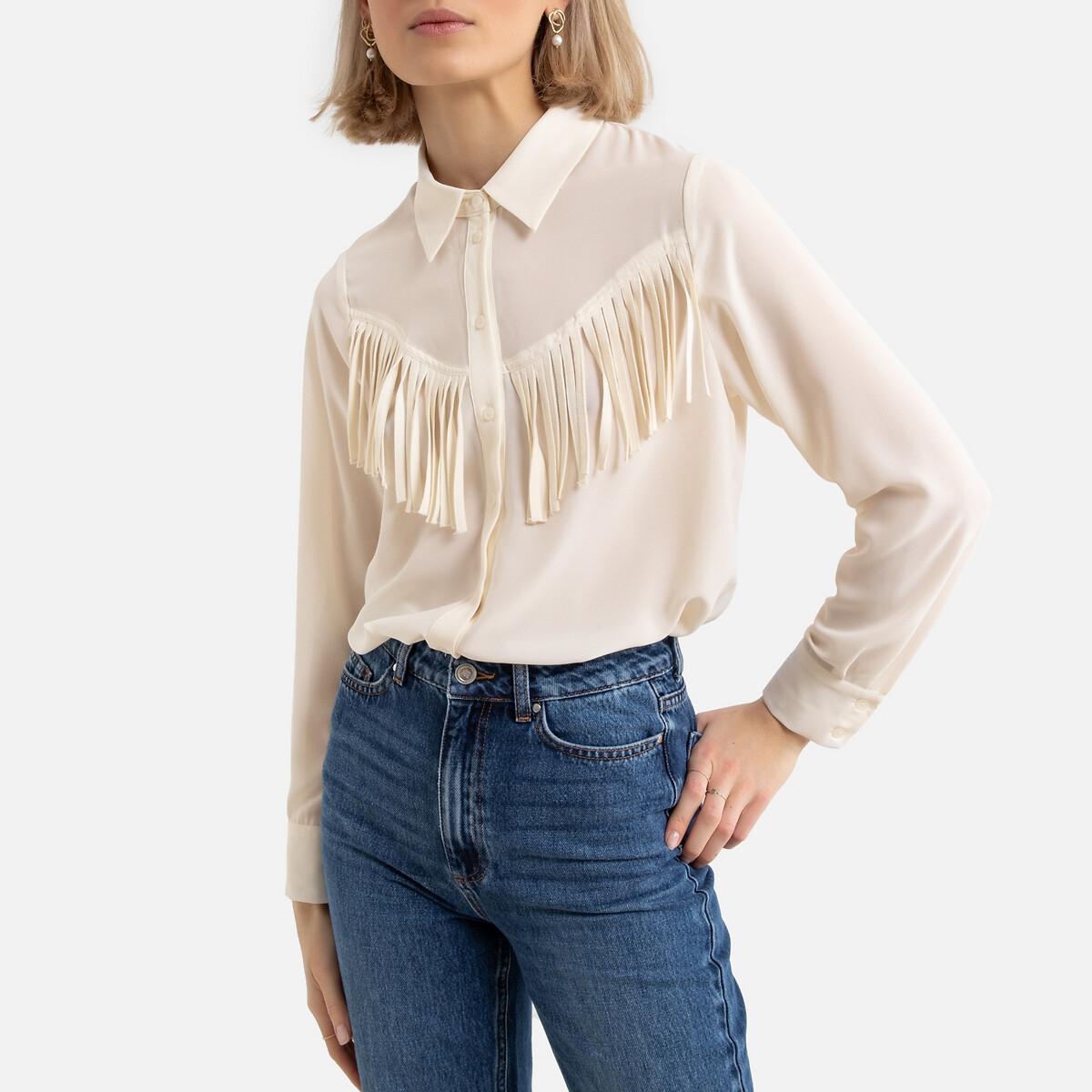 Блузка LaRedoute Прямого покроя с бахромой L бежевый блузка laredoute прямого покроя с бахромой l бежевый