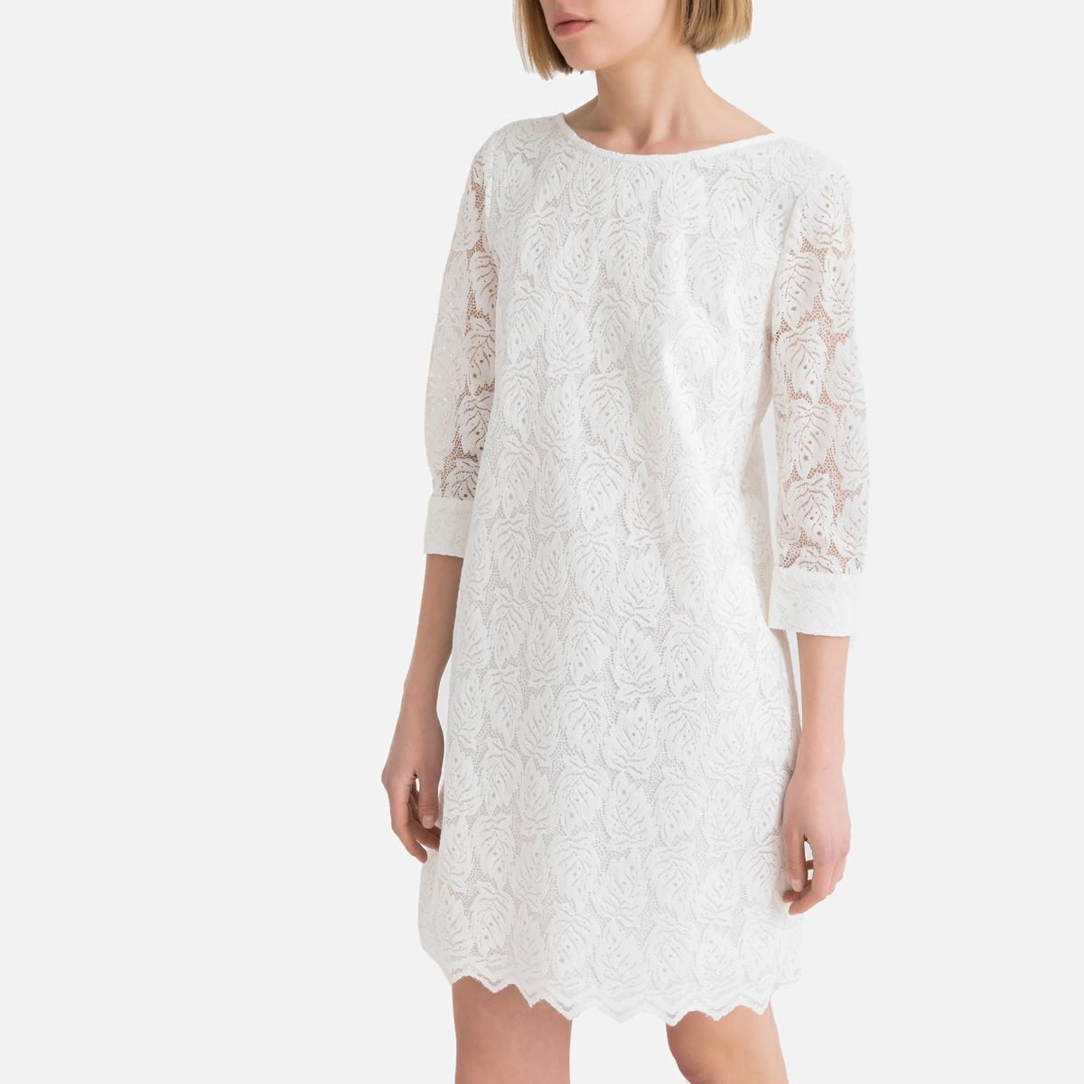 Платье La Redoute Короткое из гипюра с рукавами 34 (FR) - 40 (RUS) бежевый