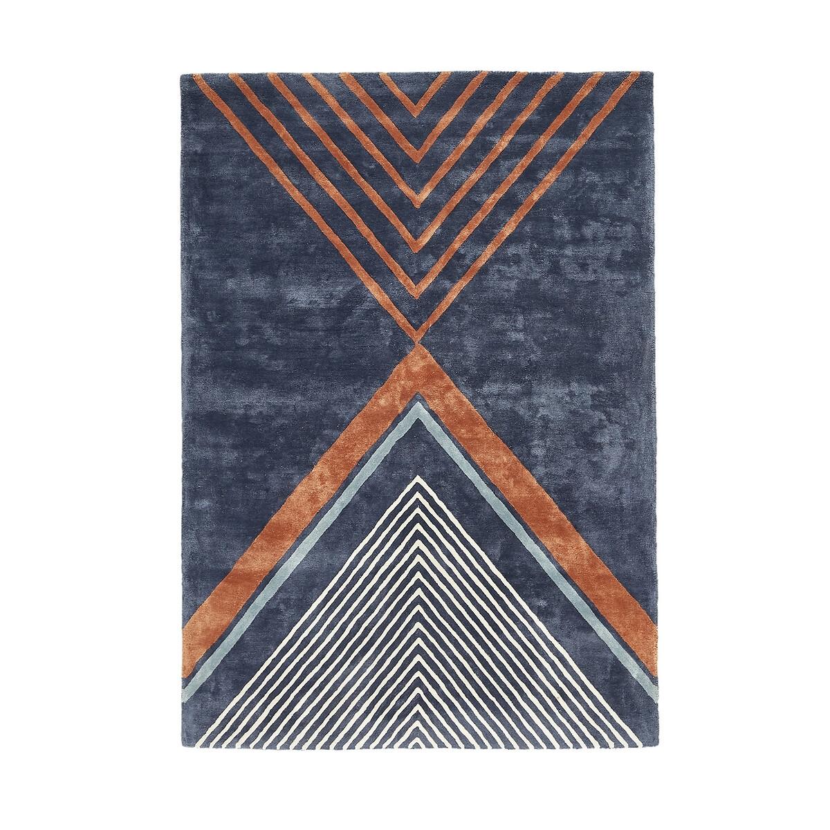Ковер La Redoute Из вискозы Palazzo 120 x 170 см синий ковер la redoute в берберском стиле kaylon 120 x 170 см каштановый