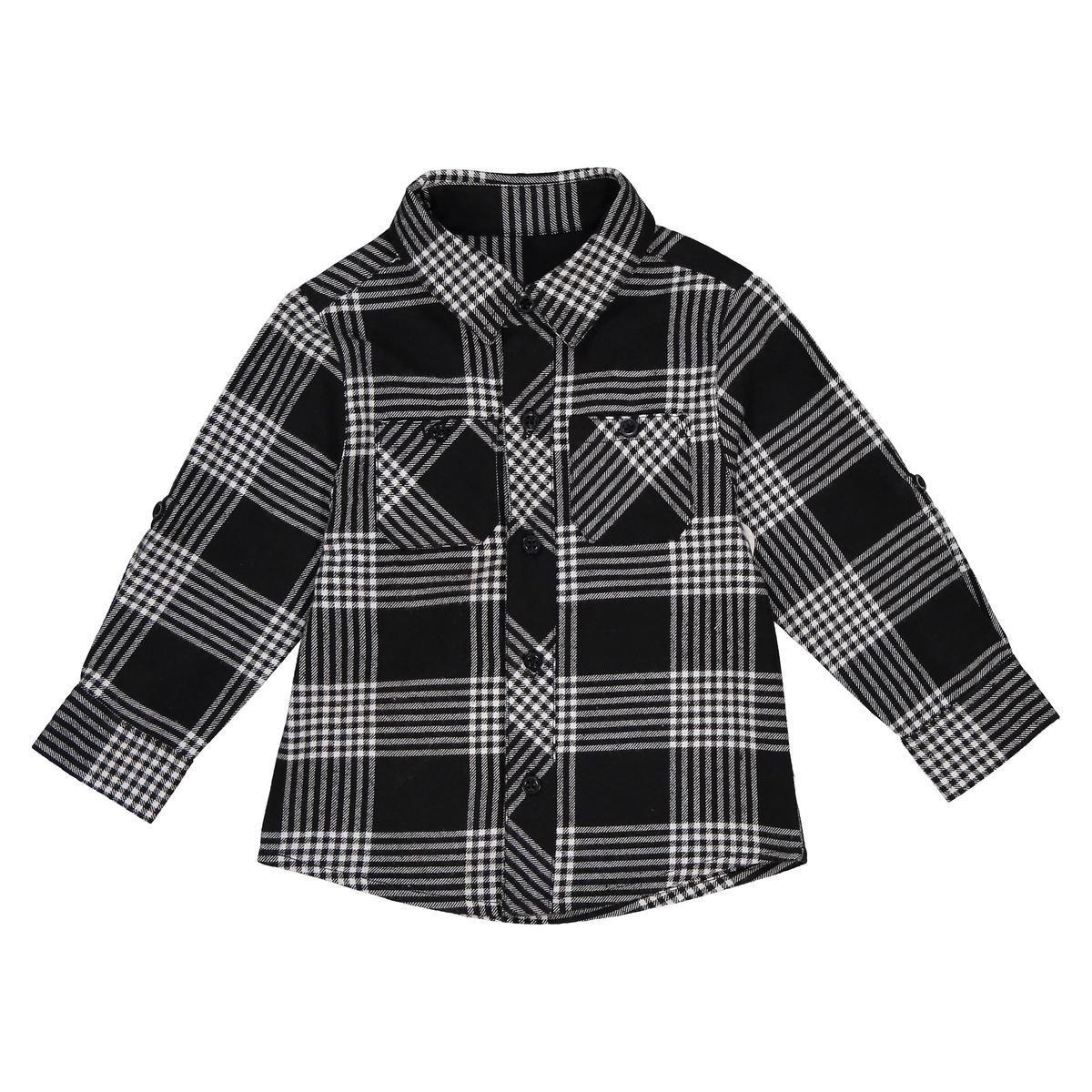 Рубашка La Redoute В клетку с длинными рукавами мес - года 1 мес. - 54 см черный футболка la redoute с длинными рукавами с вышивкой мес года 0 мес 50 см бежевый