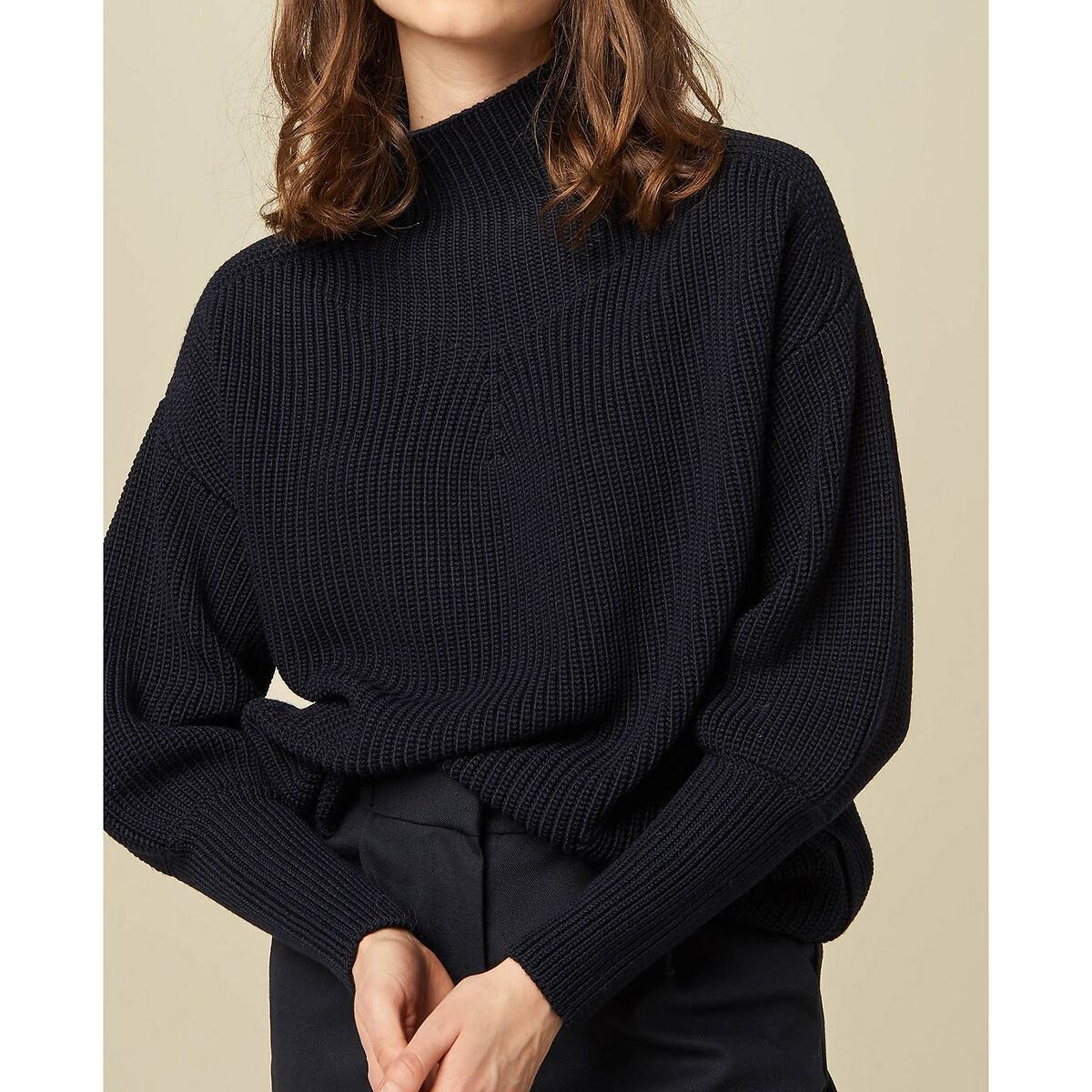 Пуловер LaRedoute С воротником-стойкой из плотного трикотажа JAMMY S синий блузон la redoute короткий с воротником стойкой jjedesert демисезонная модель s бежевый