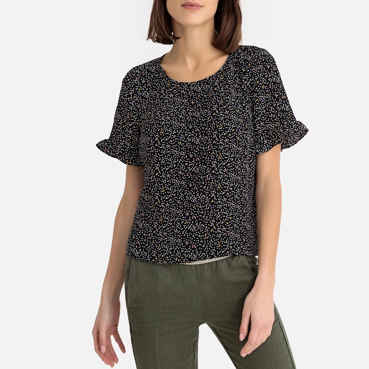 Блузка La Redoute С принтом и рукавами с воланами EVA TIPOIS XS черный цены