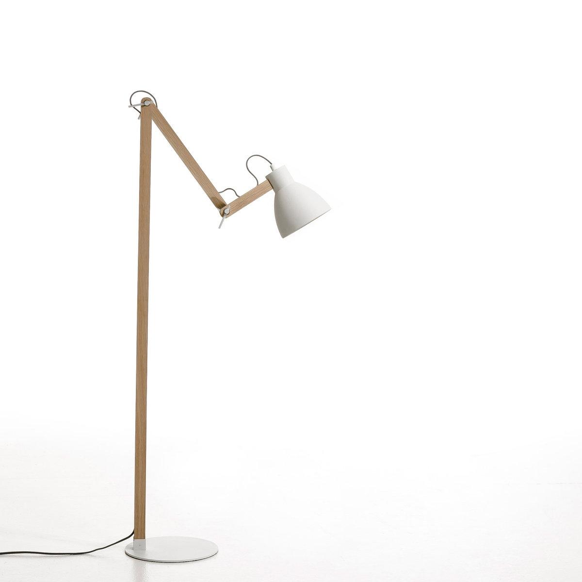 Торшер, ThaddeusХарактеристики : -Из необработанного дуба и металла с белым матовым эпоксидным покрытием.- Электрический кабель из серой хлопковой ткани  .   - Регулируемые лапка и абажур с металлическим креплением  .       - Патрон E27 для флюокомпактной лампочки макс 20W (не входит в комплект) . - Этот светильник совместим с лампочками    энергетического класса   A .- Этот товар может подойти для спальни ребенка старше 14 лет в зависимости от действующих требований  .Размеры :- 55 x 155 x 30 см (в обычном положении)    Доставка:Возможна доставка товара до двери по предварительной договоренности!Внимание! Убедитесь, что товар возможно доставить, учитывая его габариты (проходит по лестницам, в дверные проемы, в лифты).<br><br>Цвет: белый,черный