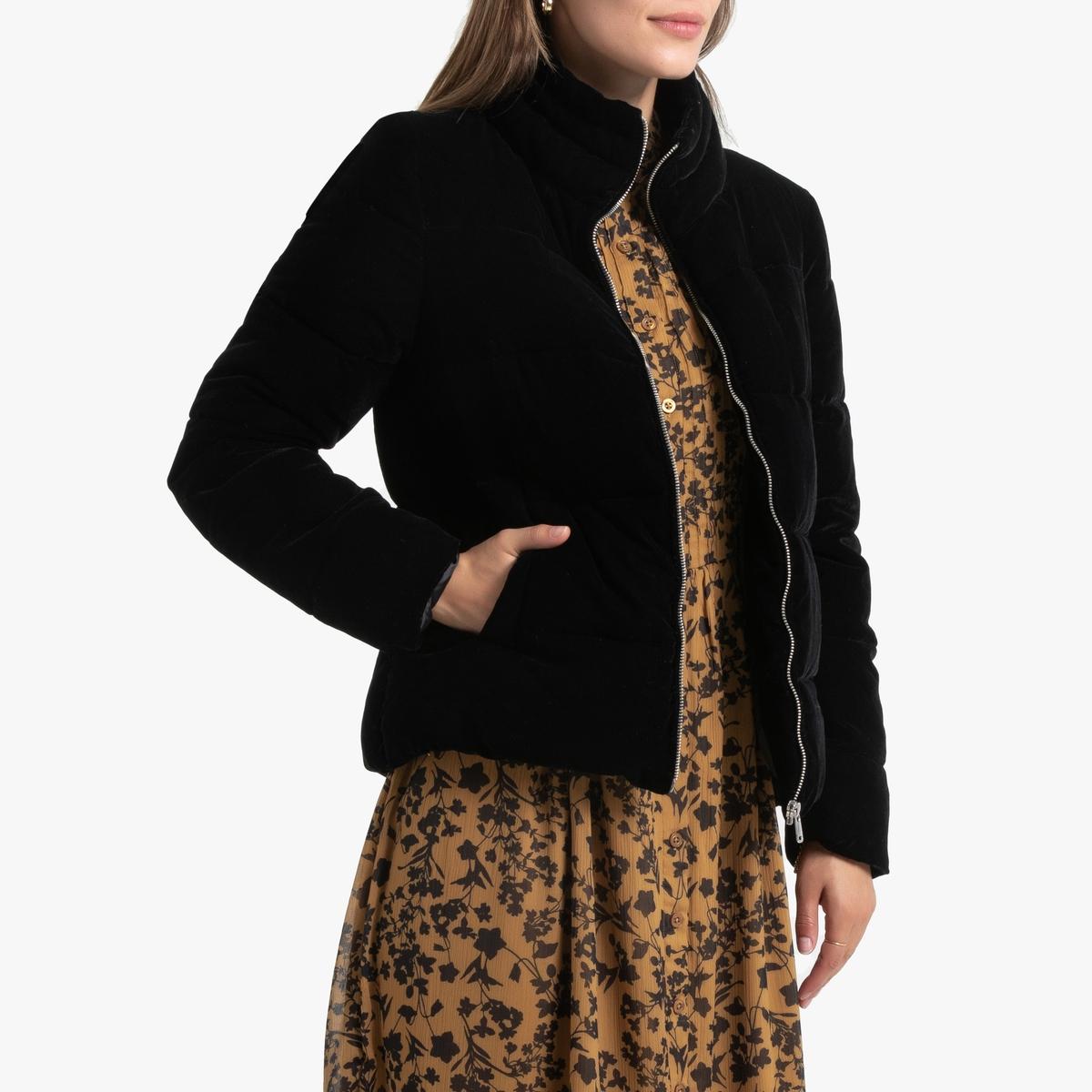 цены Куртка La Redoute Стеганая короткая из велюра 48 (FR) - 54 (RUS) черный