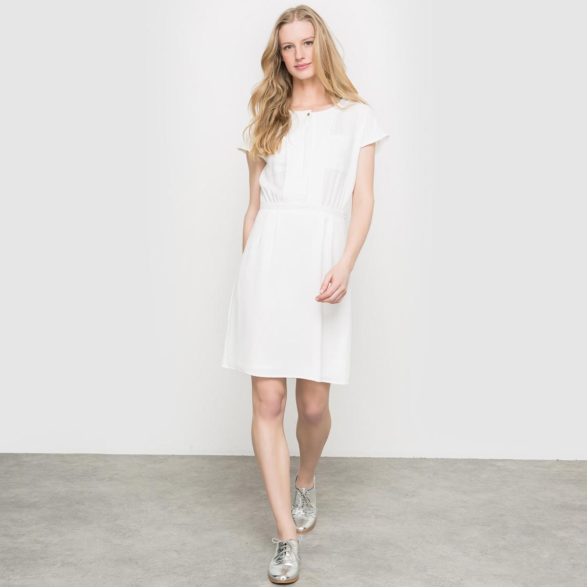 Платье с короткими рукавамиКороткие рукава. Эластичный пояс. Широкая вставка на талии. Два накладных кармана на груди. Платье 98% полиэстера, 2% эластана. Длина 92 см.<br><br>Цвет: экрю<br>Размер: 46 (FR) - 52 (RUS)