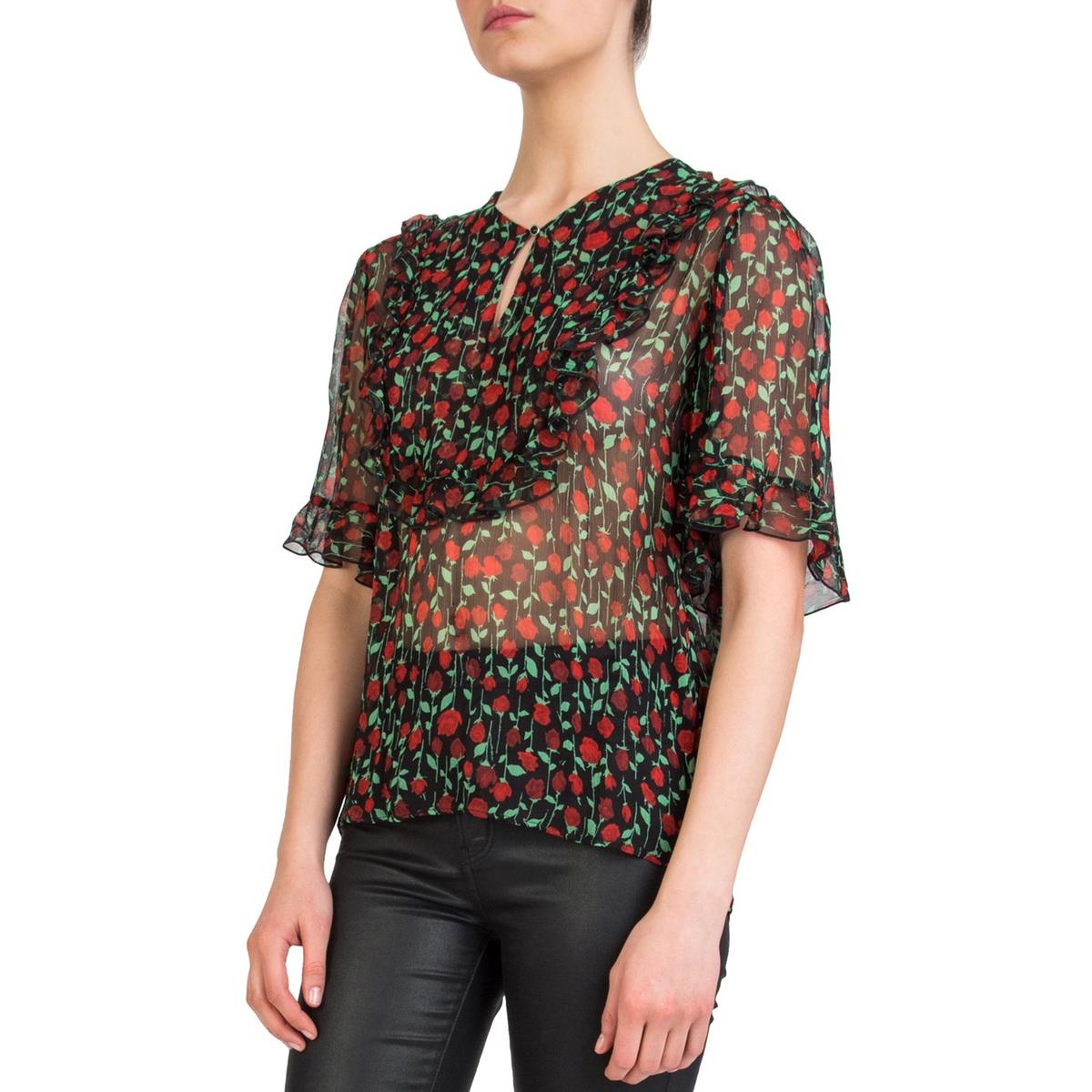 Блузка с рисунком, воланами и короткими рукавами блузка с рисунком и накладными воланами