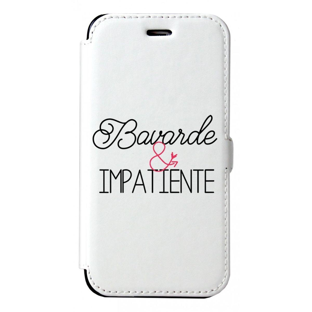 Etui iPhone 6 iPhone 6S rigide blanc, Bavarde et impatiente, La Coque Francaise®