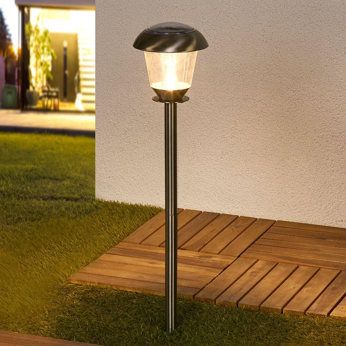 Lampe solaire led nela pour le jardin inox, transparent Lampenwelt
