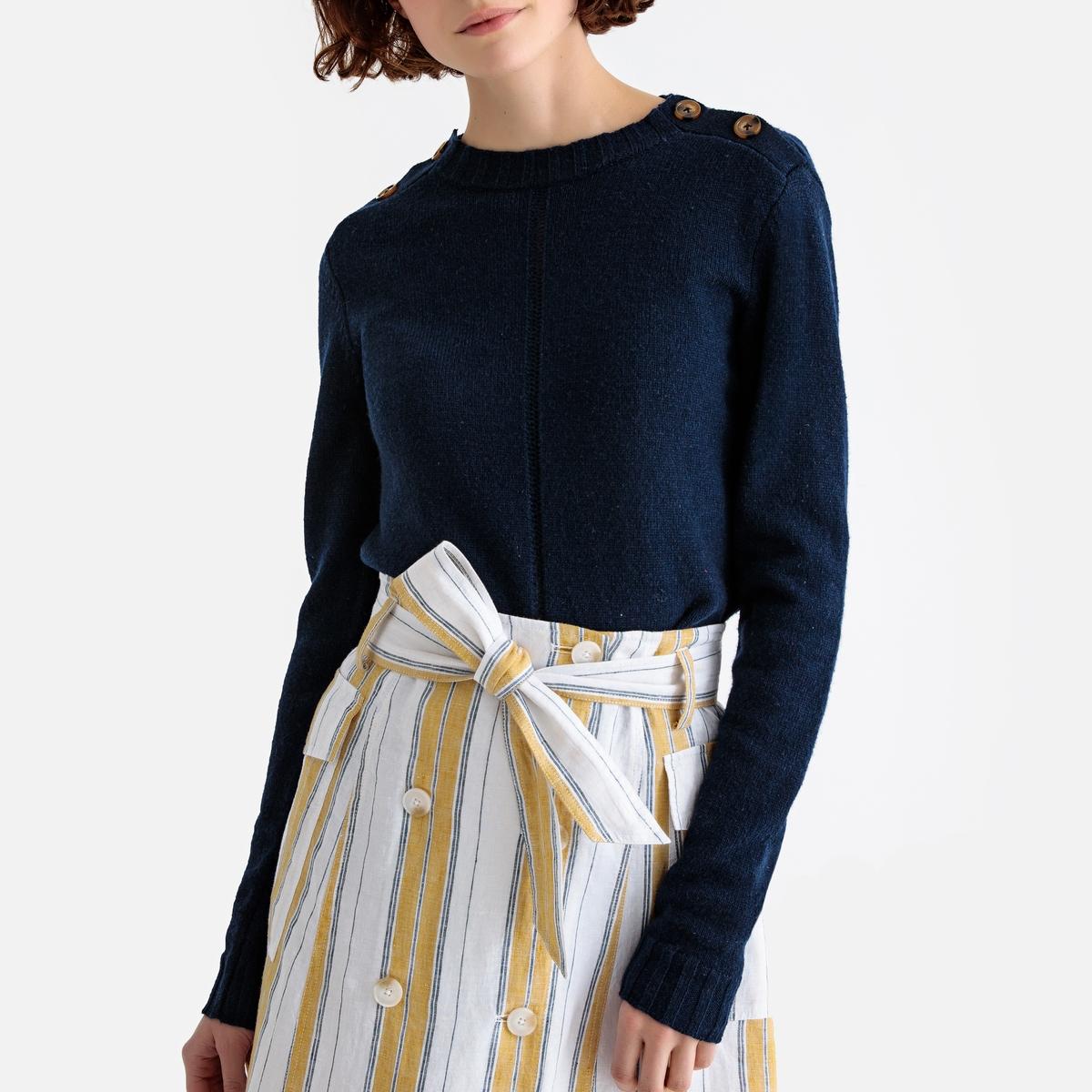 Jersey de lana de cordero con cuello redondo abotonado