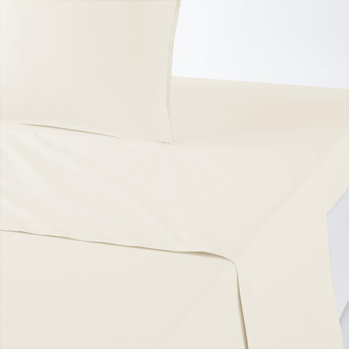 Простыня LaRedoute Однотонная из перкали из биохлопка 270 x 290 см бежевый