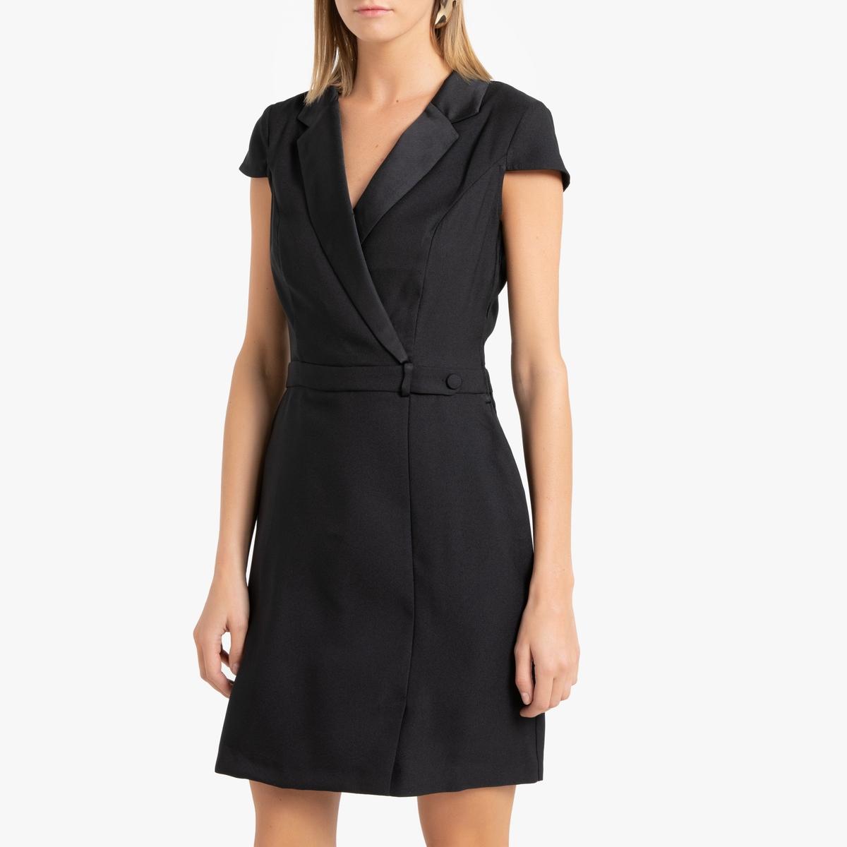 Платье La Redoute С запахом короткое с короткими рукавами 40 (FR) - 46 (RUS) черный платье la redoute короткое расклешенное с короткими рукавами 46 fr 52 rus красный