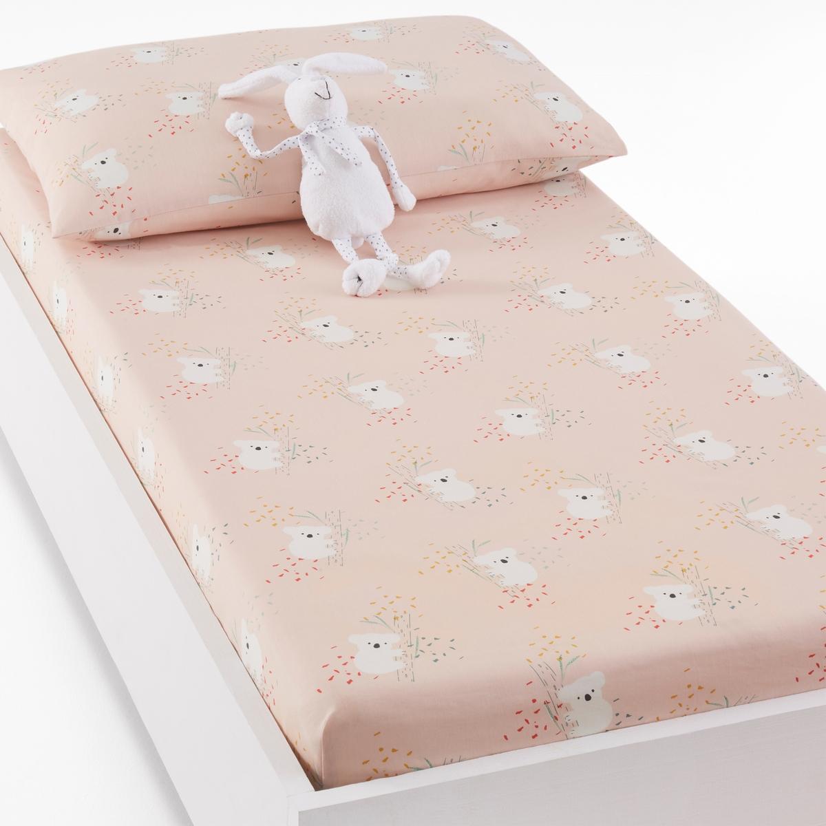 Простыня натяжная для детской кроватки с рисунком коалы LOUISA микровуаль garden выс 290см сиреневый