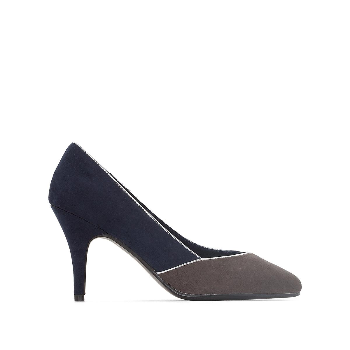 Туфли на каблукеДетали   •  Каблук-шпилька •  Высота каблука : 8,5 см •  Застежка : без застежки •  Заостренный мысок •  Велюровая отделка, нубукСостав и уход   •  Верх 100% синтетический материал •  Подкладка 100% хлопок<br><br>Цвет: темно-синий,черный
