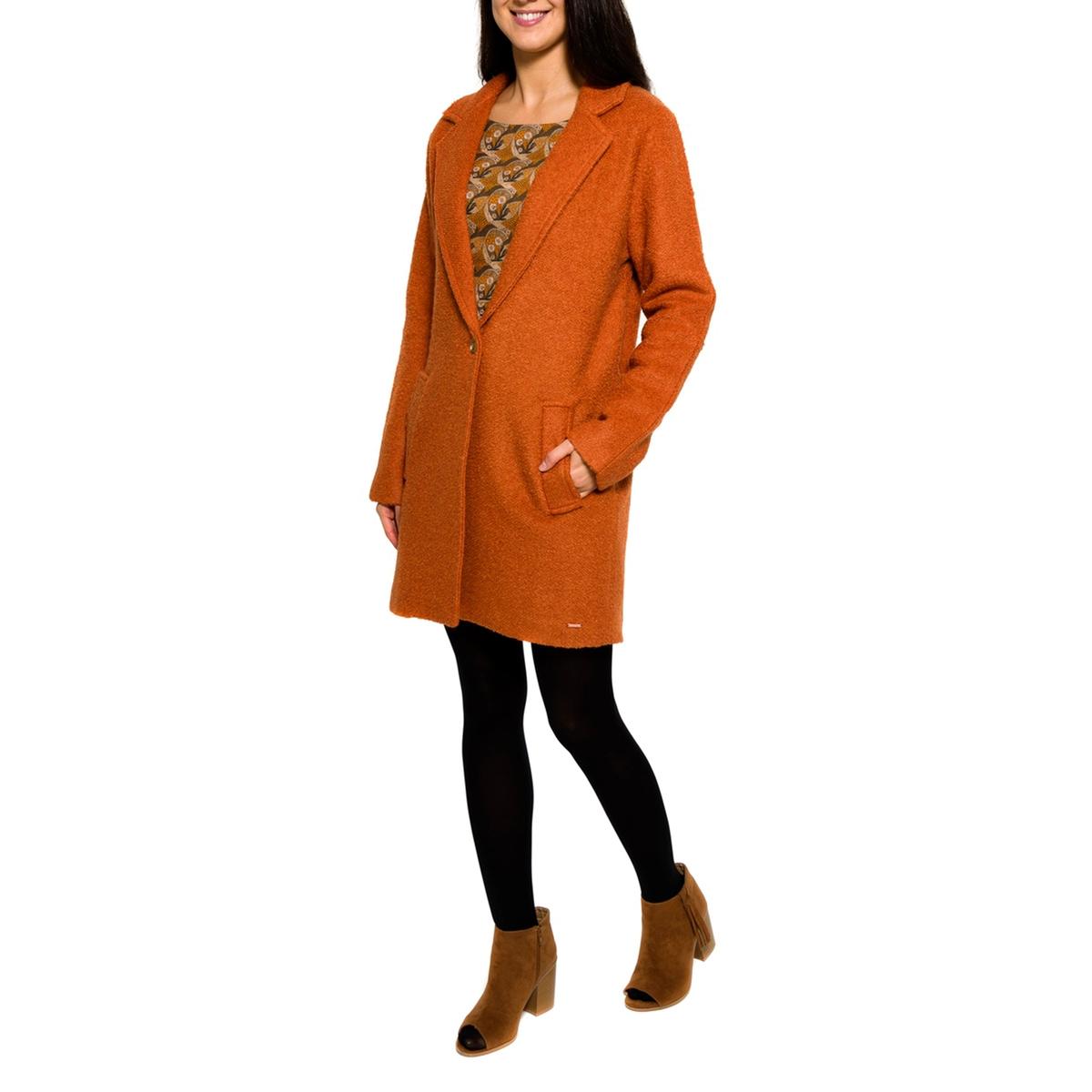 Пальто с  V-образным вырезомСостав и описание     Материал         70% полиэстера, 30% шерсти woolmark     Марка: PARAMITA<br><br>Цвет: красно-коричневый<br>Размер: S.M.L