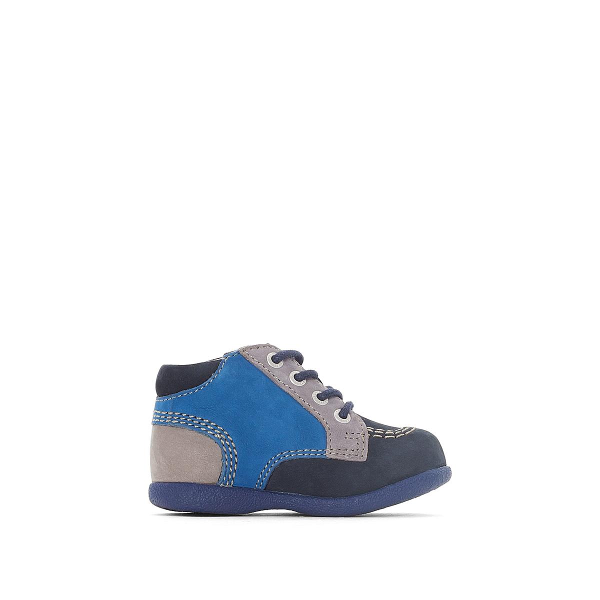 Ботильоны кожаные BABYSTANОписание:Детали  •  Застежка : шнуровка •  Круглый мысок •  Велюровая отделка, нубукСостав и уход  •  Верх 100% нубук •  Подкладка 100% спилок •  Стелька 100% спилок •  Подошва 100% каучук<br><br>Цвет: темно-синий/ синий