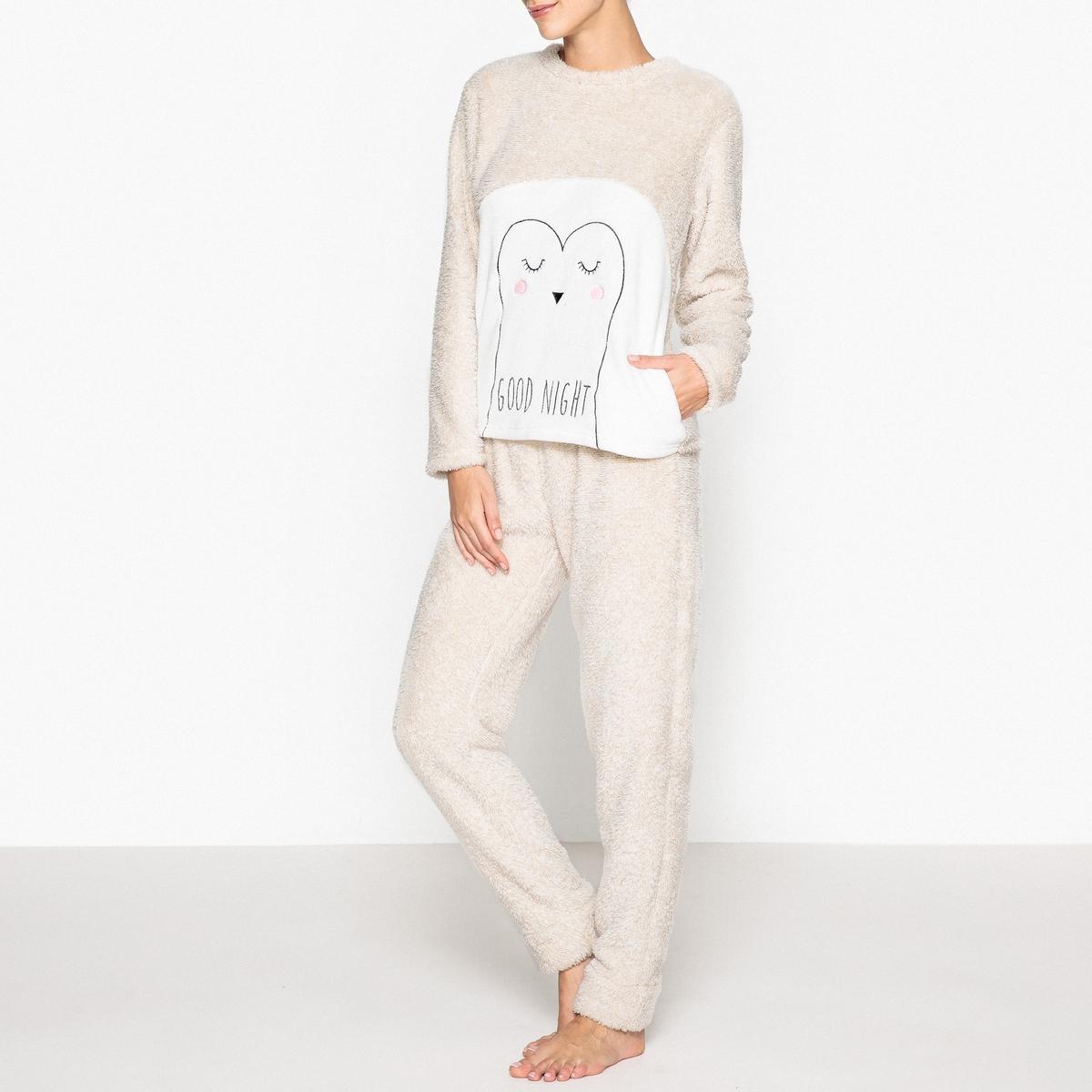 Пижама утепленнаяСтильная длинная пижама женственного покроя с вырезом-лодочкой согреет Вас при наступлении холодов: незаменима для мягкой зимы. Состав и описаниеПижама из 2 предметов. Верх с вырезом-лодочкой, длинными рукавами и разрезами по бокам.Брюки с эластичным поясом.Материал : 100% полиэстерУход : Стирать с вещами схожих цветов..Стирать с изнаночной стороны при 30°Машинная сушка запрещена<br><br>Цвет: бежевый<br>Размер: 34/36 (FR) - 40/42 (RUS)