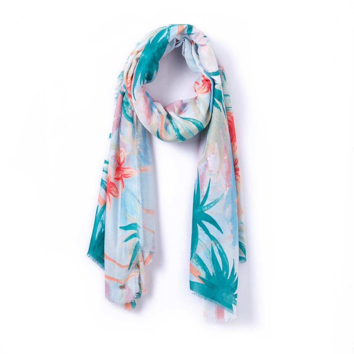 Шарф из вискозы TropicalВеликолепный изящный шарф ESPRIT с очень ярким растительным орнаментом и отделкой бахромой. Легкий и экзотичный, он с легкостью найдет свое место в Вашем осеннем гардеробе.Состав и описание :Материал : 100% полиамидРазмеры : 80 x 100 смУход: : Следуйте рекомендациям, указанным на этикетке изделия.<br><br>Цвет: рисунок тропики