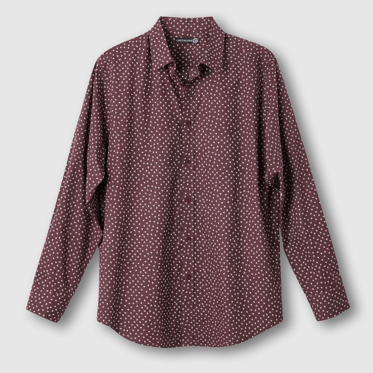 Рубашка с цветочным принтомРубашка с цветочным принтом. Длинные рукава. Воротник со свободными уголками. Складка сзади и петля для вешалки. Закругленный низ. Поплин, 100% хлопка. Длина 83 см.<br><br>Цвет: бордовый<br>Размер: 51/52