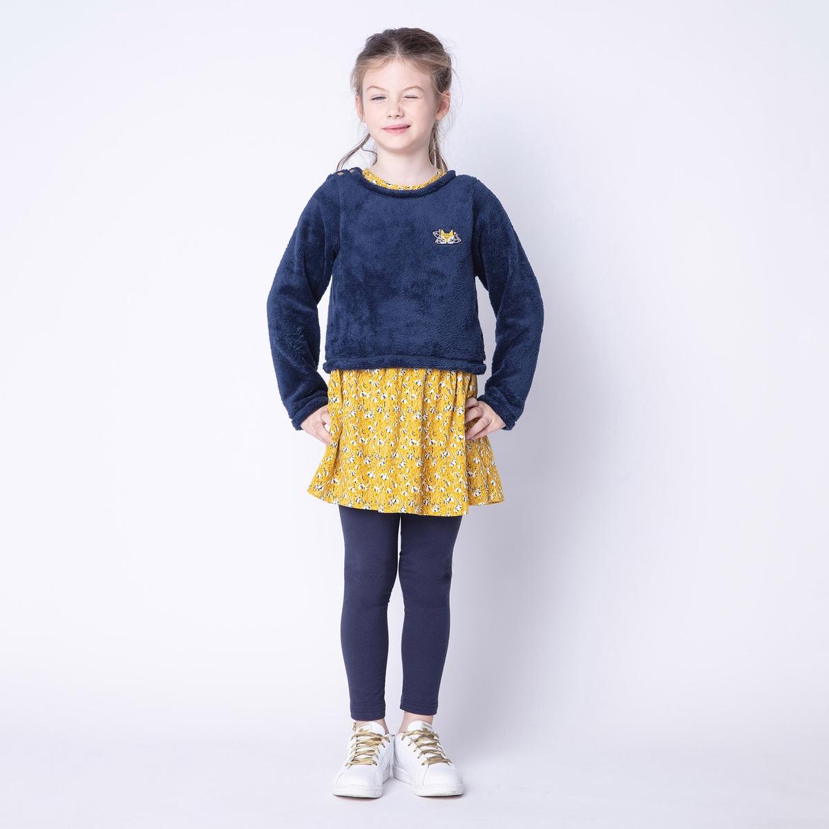 Комплект из платья и пуловера La Redoute С эффектом в 4/5 лет - 102/108 см желтый